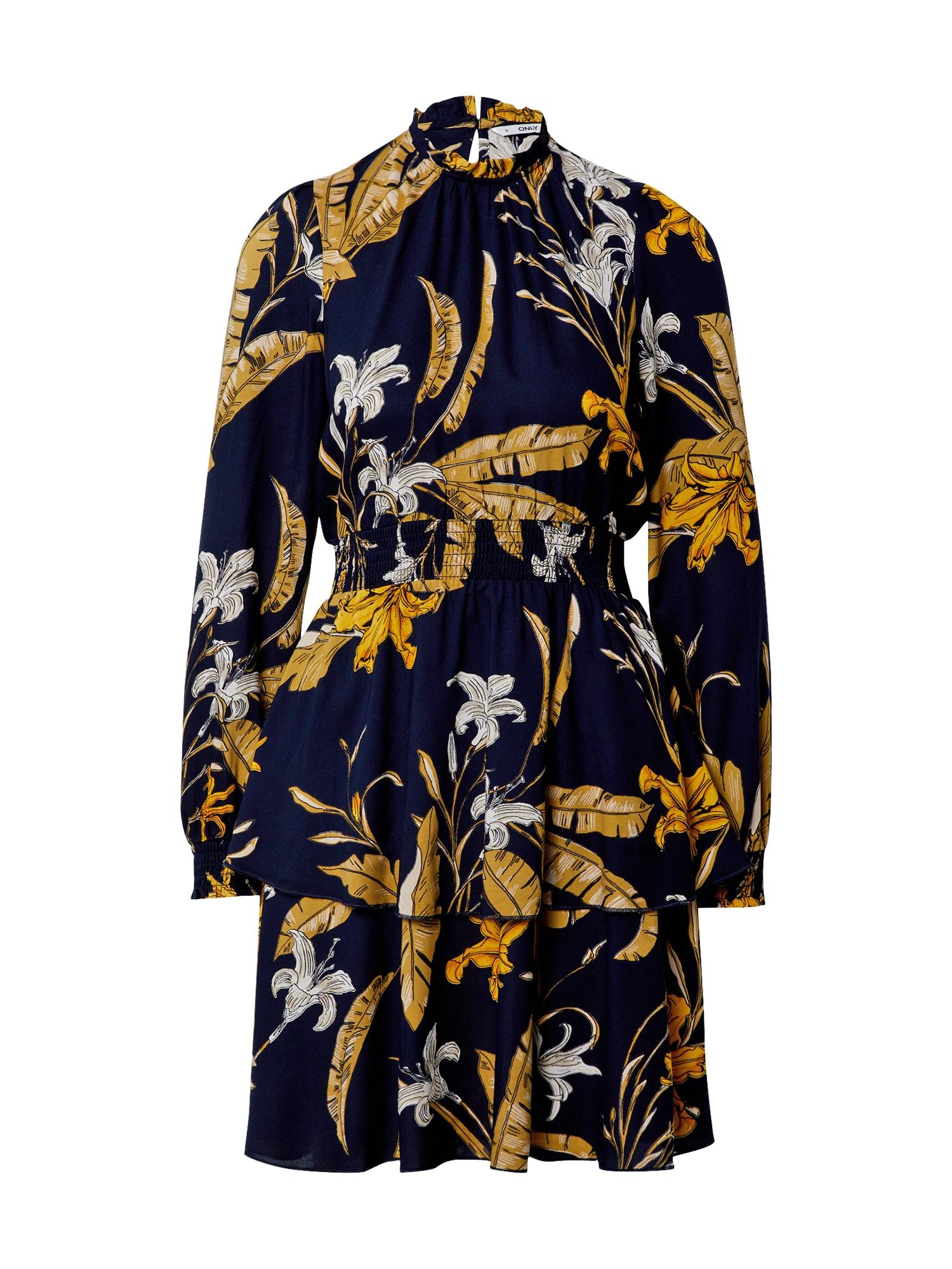 ONLY Šaty 'PALM'  noční modrá / bílá / zlatě žlutá