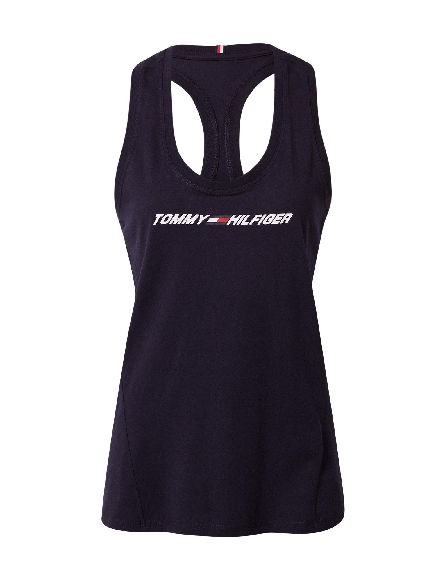 Tommy Sport Sportovní top  tmavě modrá / bílá