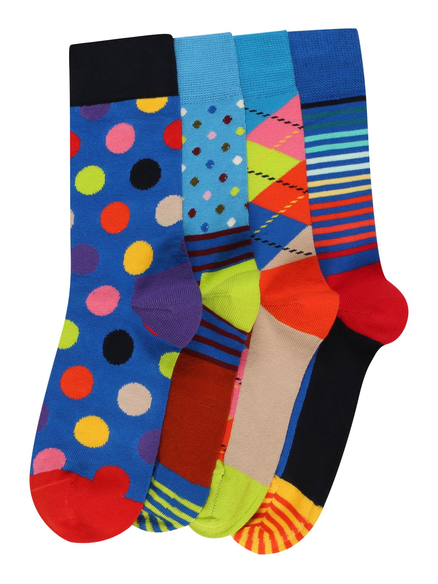 Happy Socks Kojinės dangaus žydra / tamsiai mėlyna jūros spalva / ugnies raudona / šviesiai oranžinė / persikų spalva