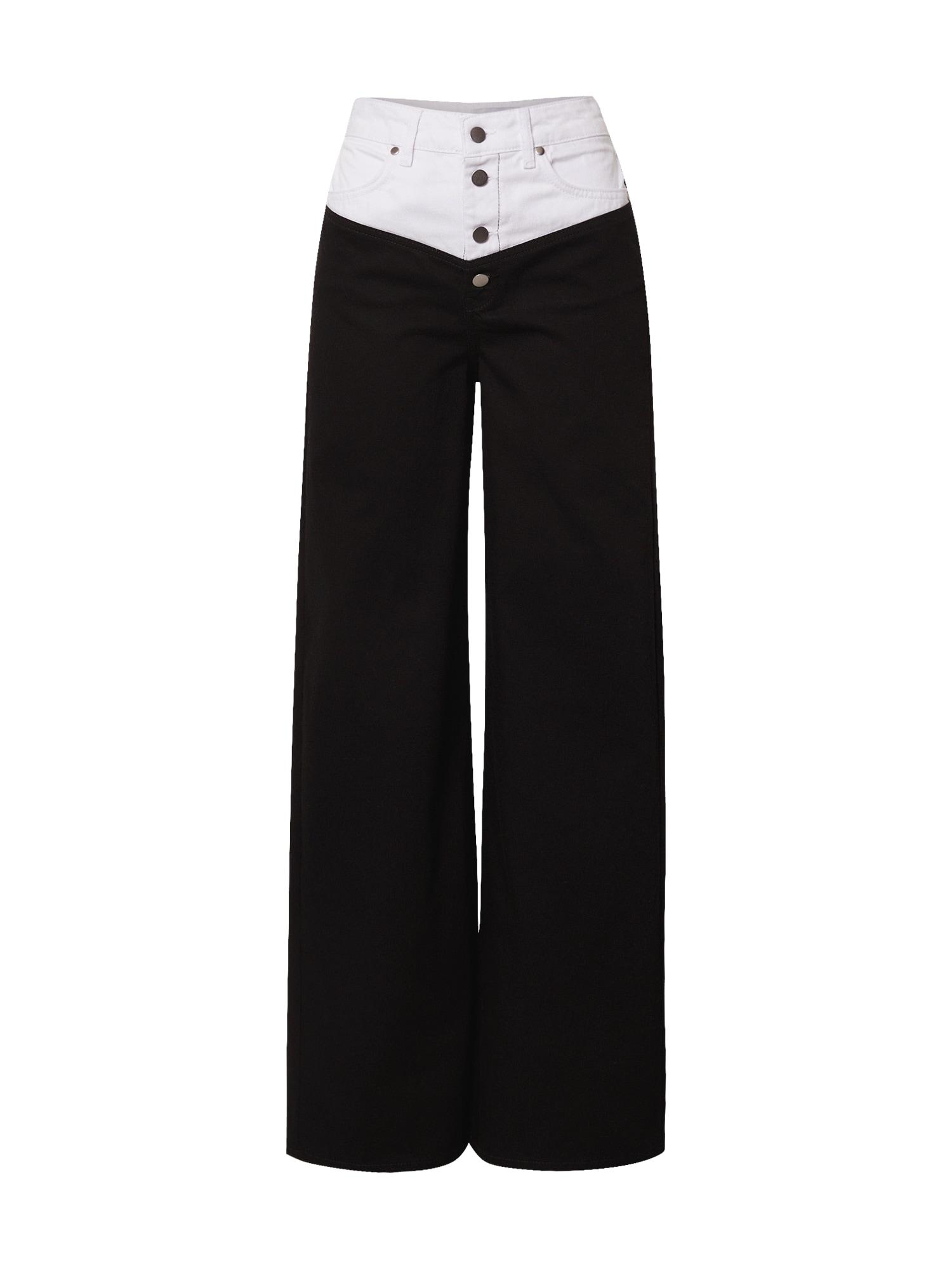 NU-IN Džinsai juodo džinso spalva / balto džinso spalva