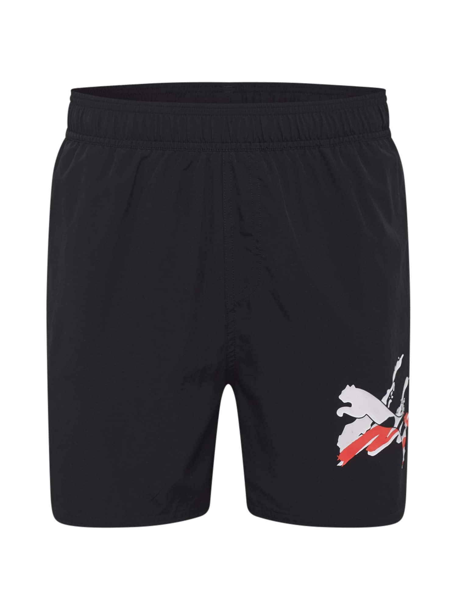 PUMA Sportinės kelnės juoda / balta / raudona