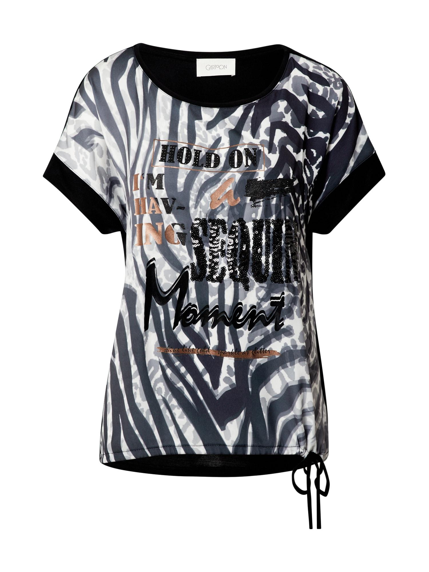 Cartoon Marškinėliai juoda / balta / pilka