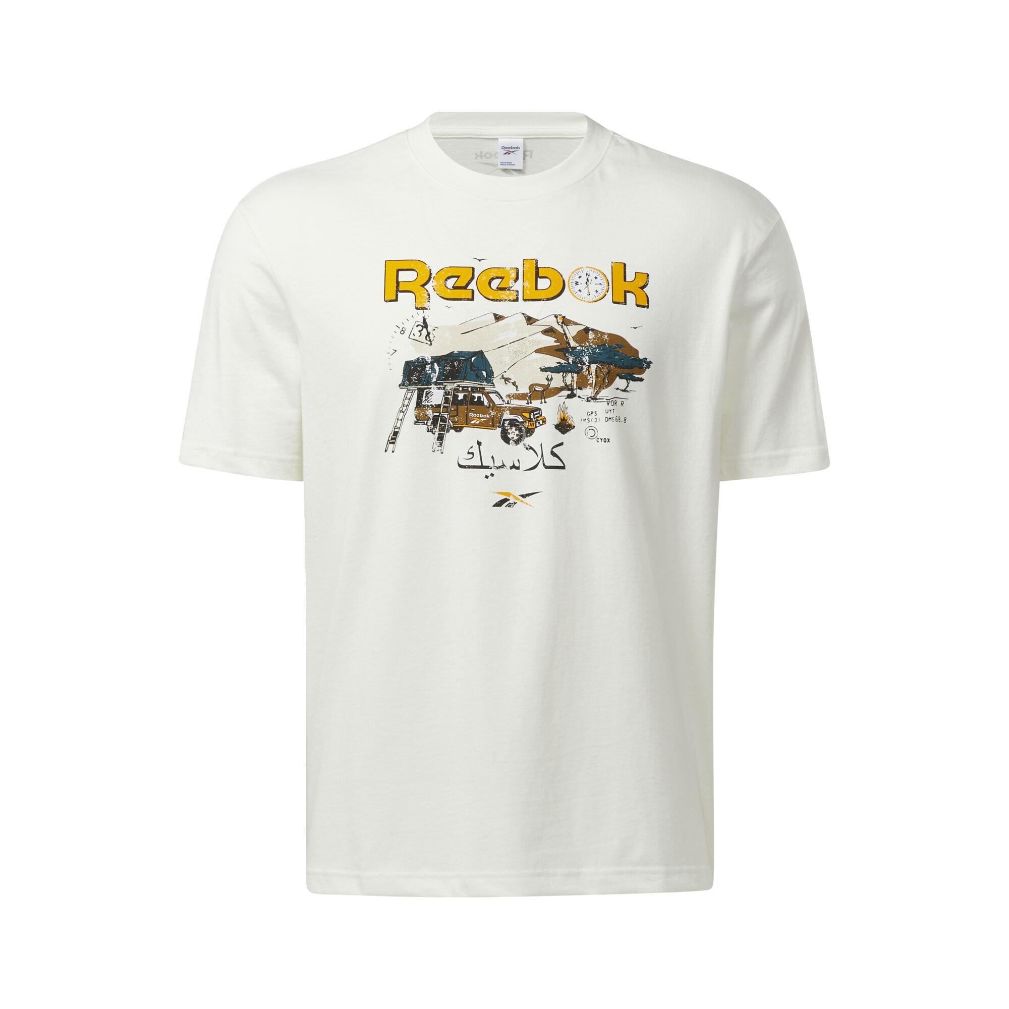 Reebok Classics Marškinėliai balta / tamsiai geltona / pastelinė mėlyna / tamsiai ruda / juoda