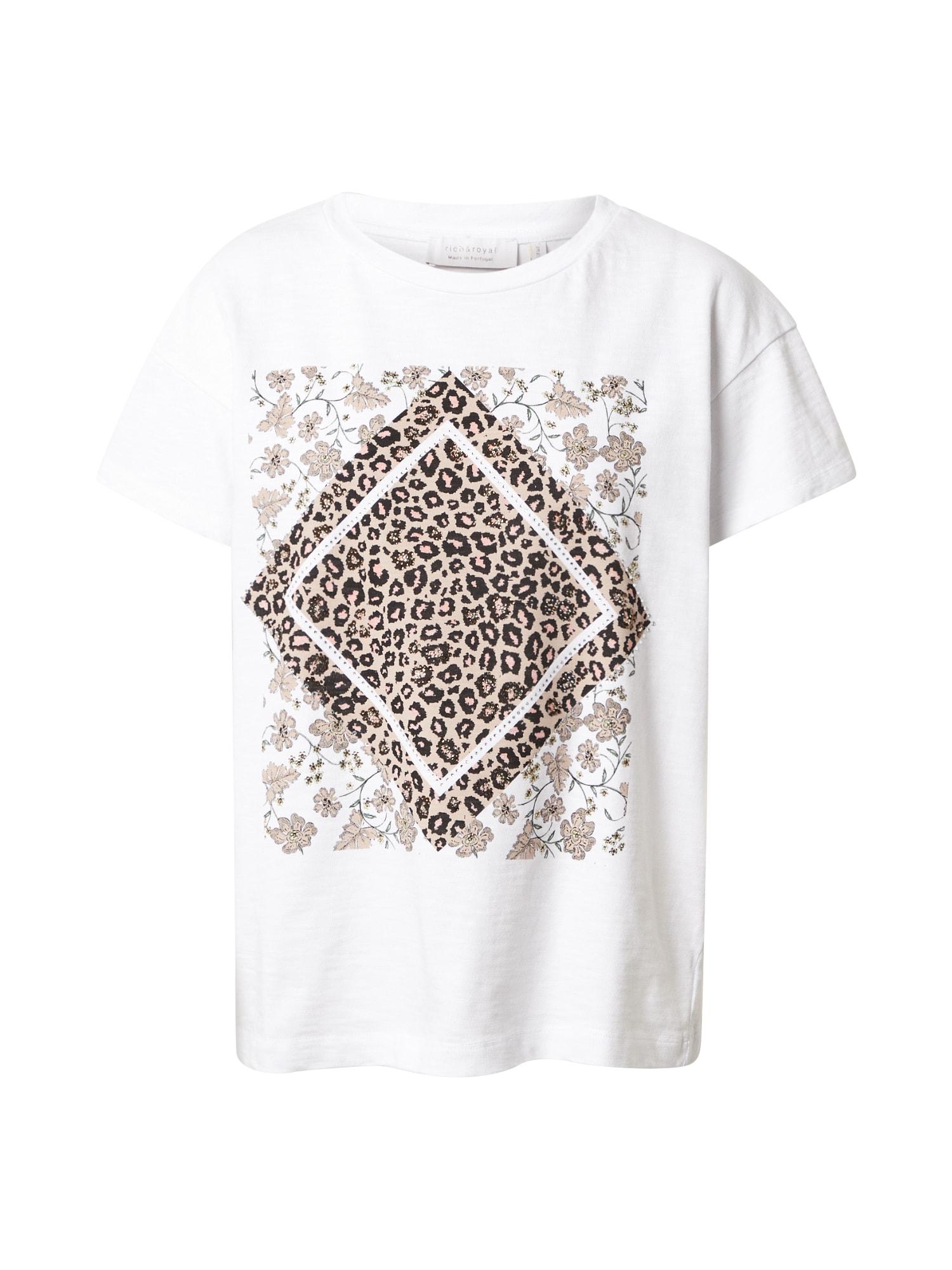 Rich & Royal Marškinėliai balta / juoda / ruda / gelsvai pilka spalva