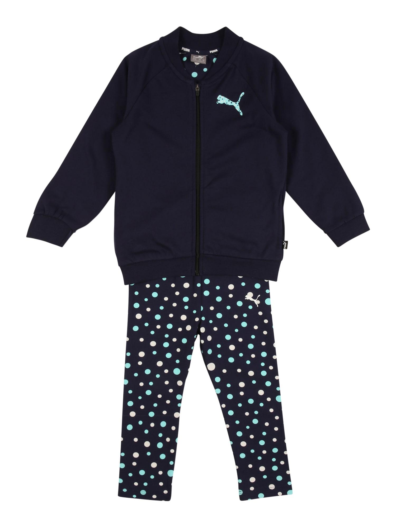 PUMA Sportinis kostiumas tamsiai mėlyna / balta / vandens spalva
