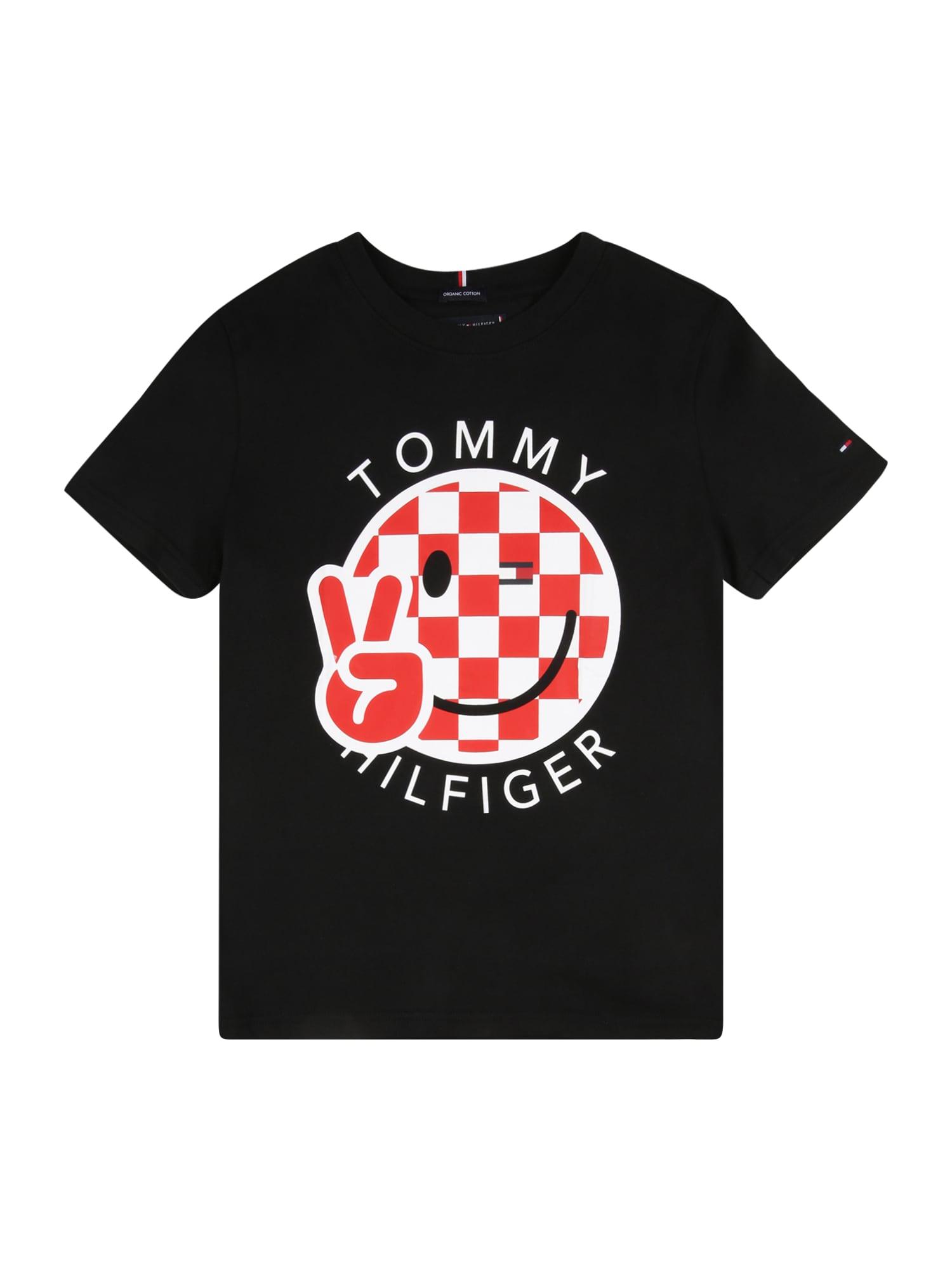 TOMMY HILFIGER Tričko 'SMILE'  černá / bílá / červená