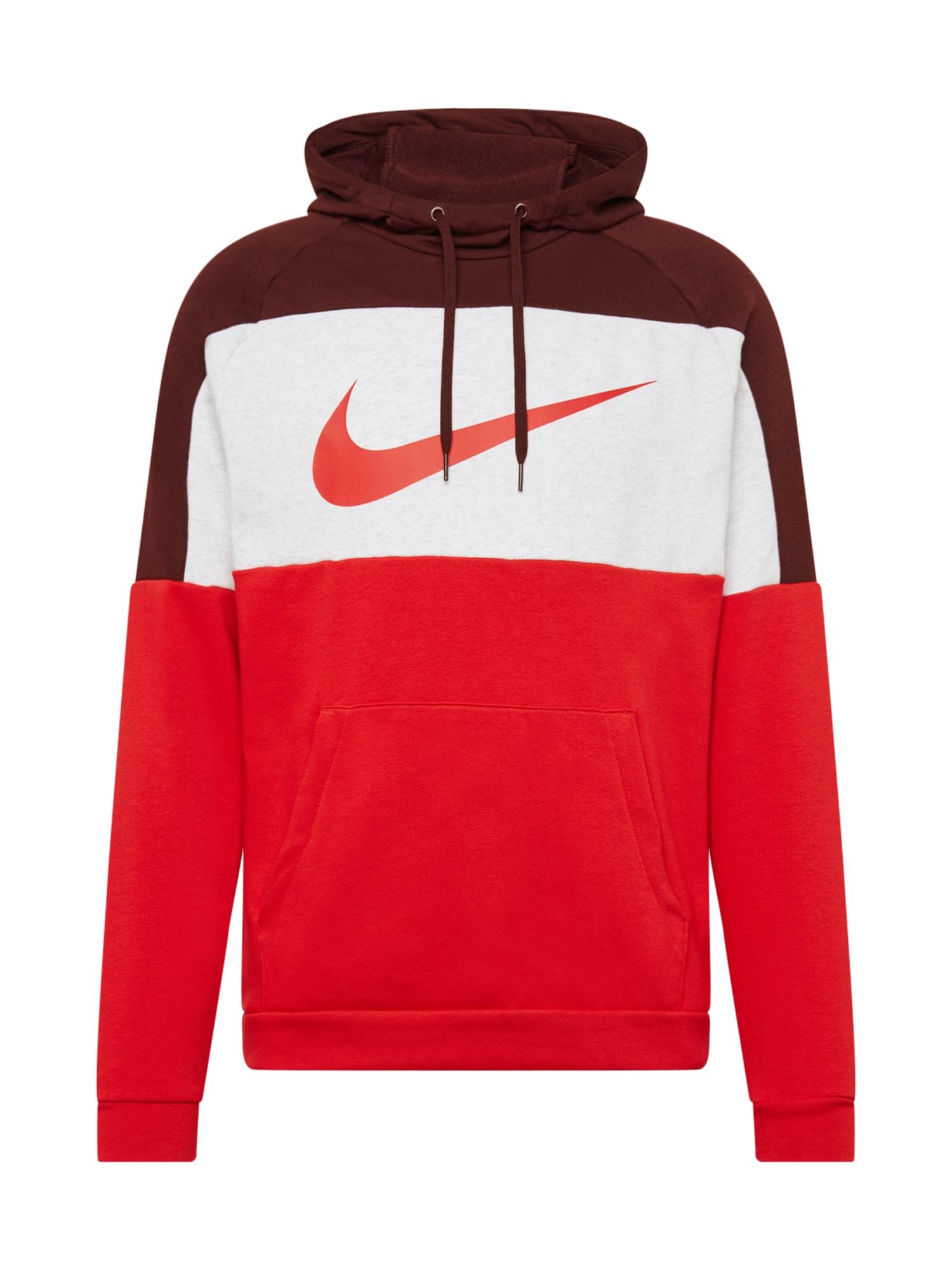 NIKE Sportinio tipo megztinis balta / raudona / vyšninė spalva