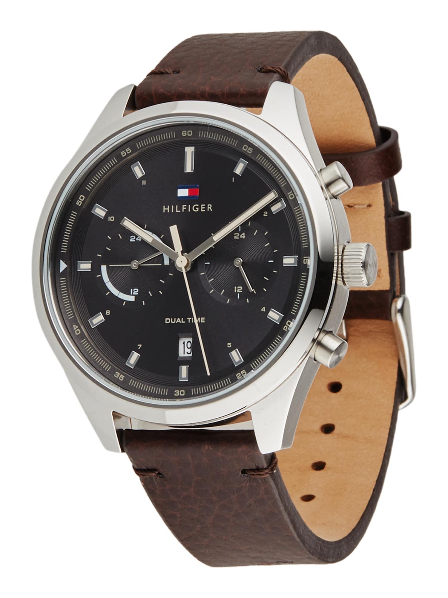 TOMMY HILFIGER Analoginis (įprasto dizaino) laikrodis tamsiai ruda / sidabrinė / juoda