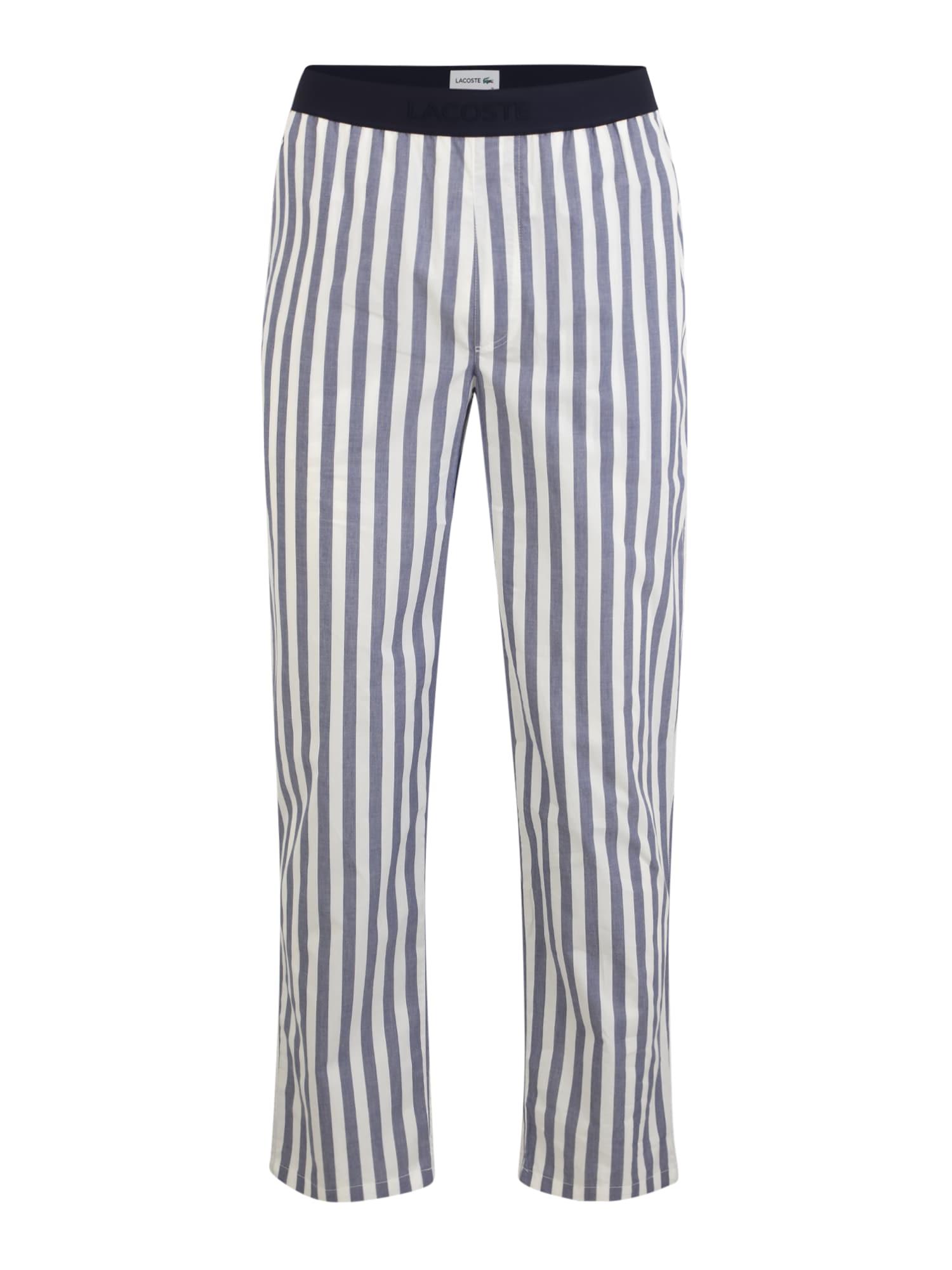 LACOSTE Pižaminės kelnės balta / mėlyna / tamsiai mėlyna jūros spalva