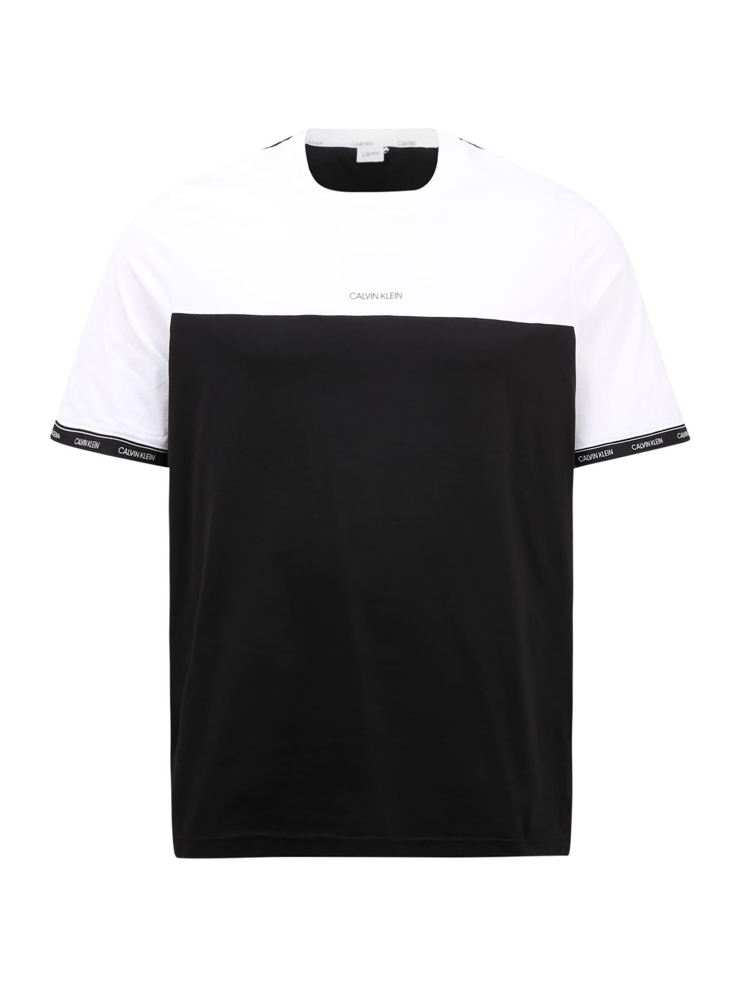 Calvin Klein Big & Tall Marškinėliai balta / juoda