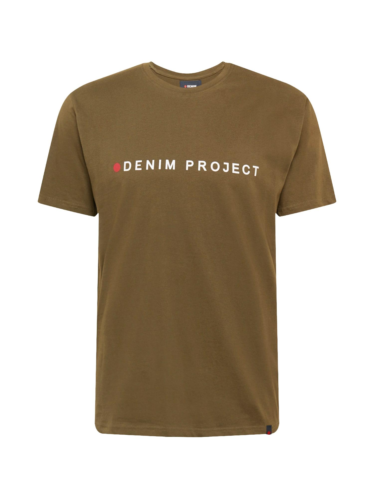 Denim Project Marškinėliai alyvuogių spalva / balta