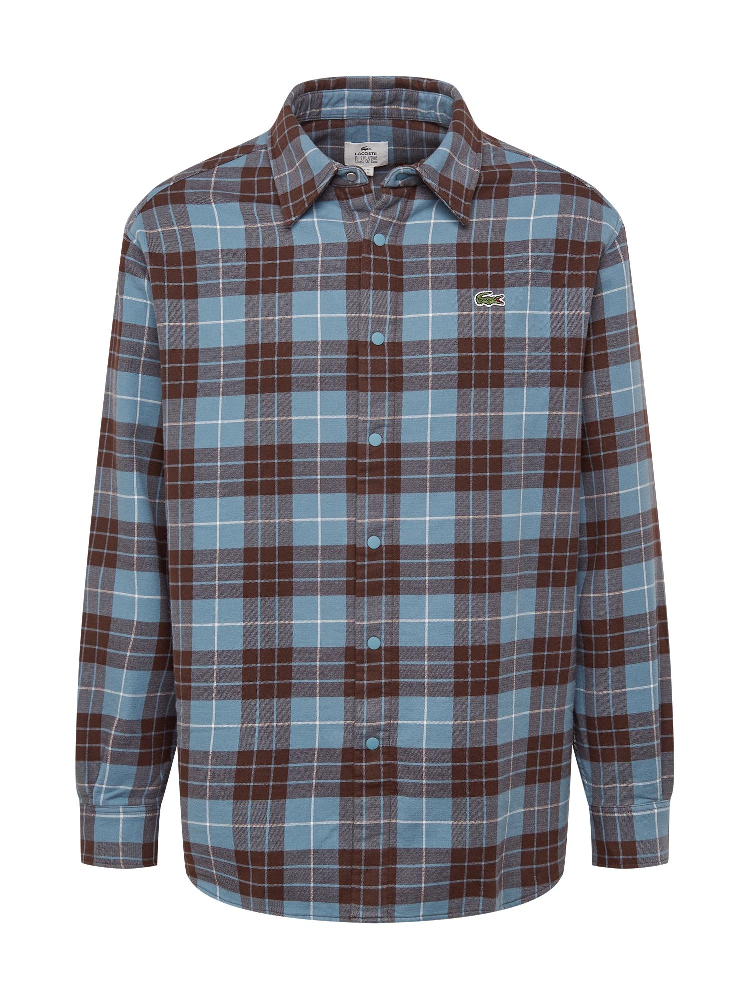 Lacoste LIVE Marškiniai ruda / šviesiai mėlyna / balta