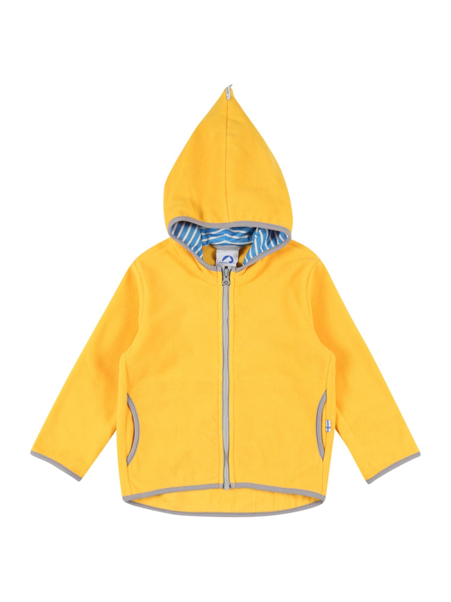 FINKID Flisinis džemperis 'PAUKKU' geltona / pilka