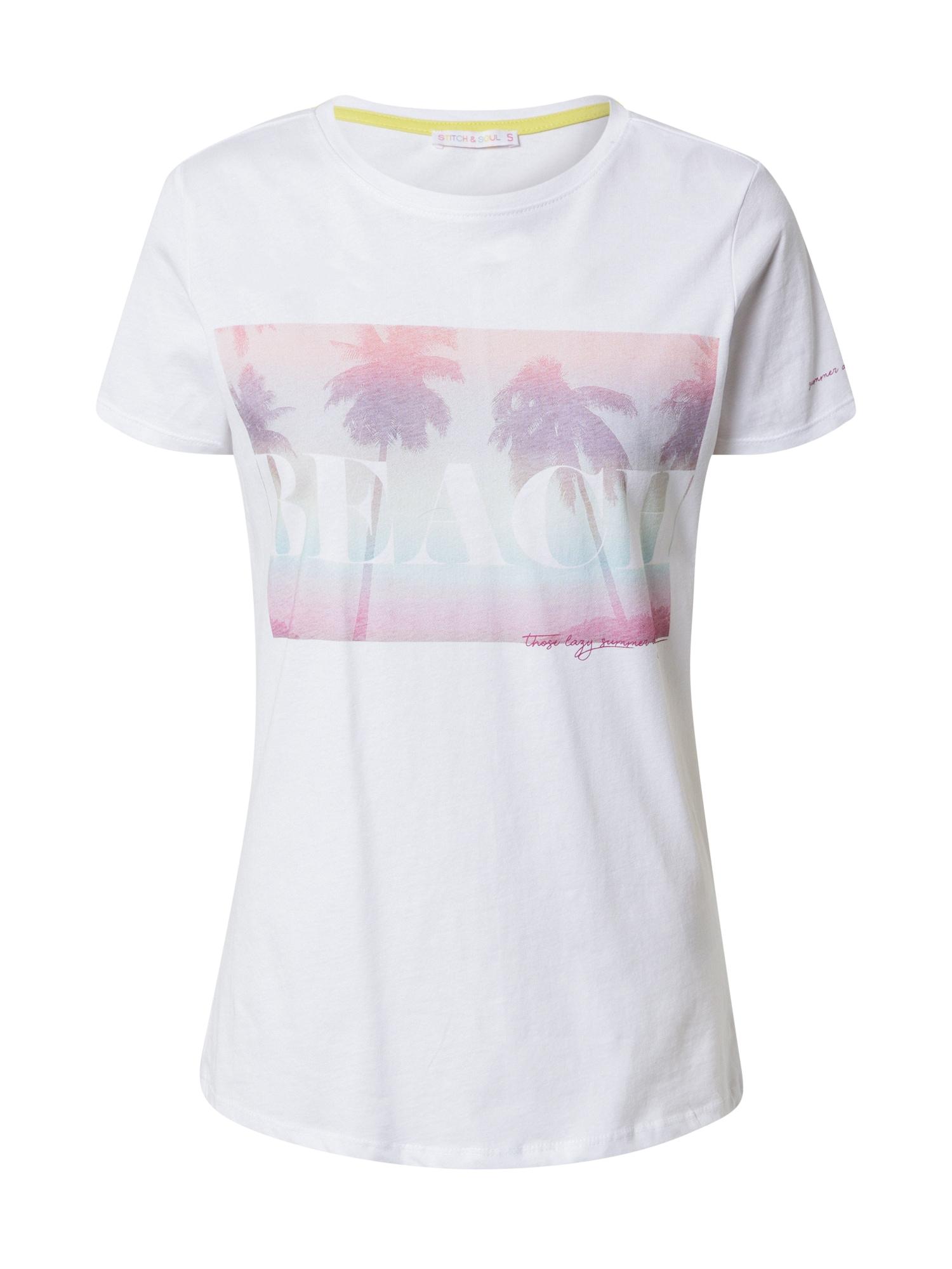 Stitch and Soul Marškinėliai balta / alyvinė spalva / rožinė