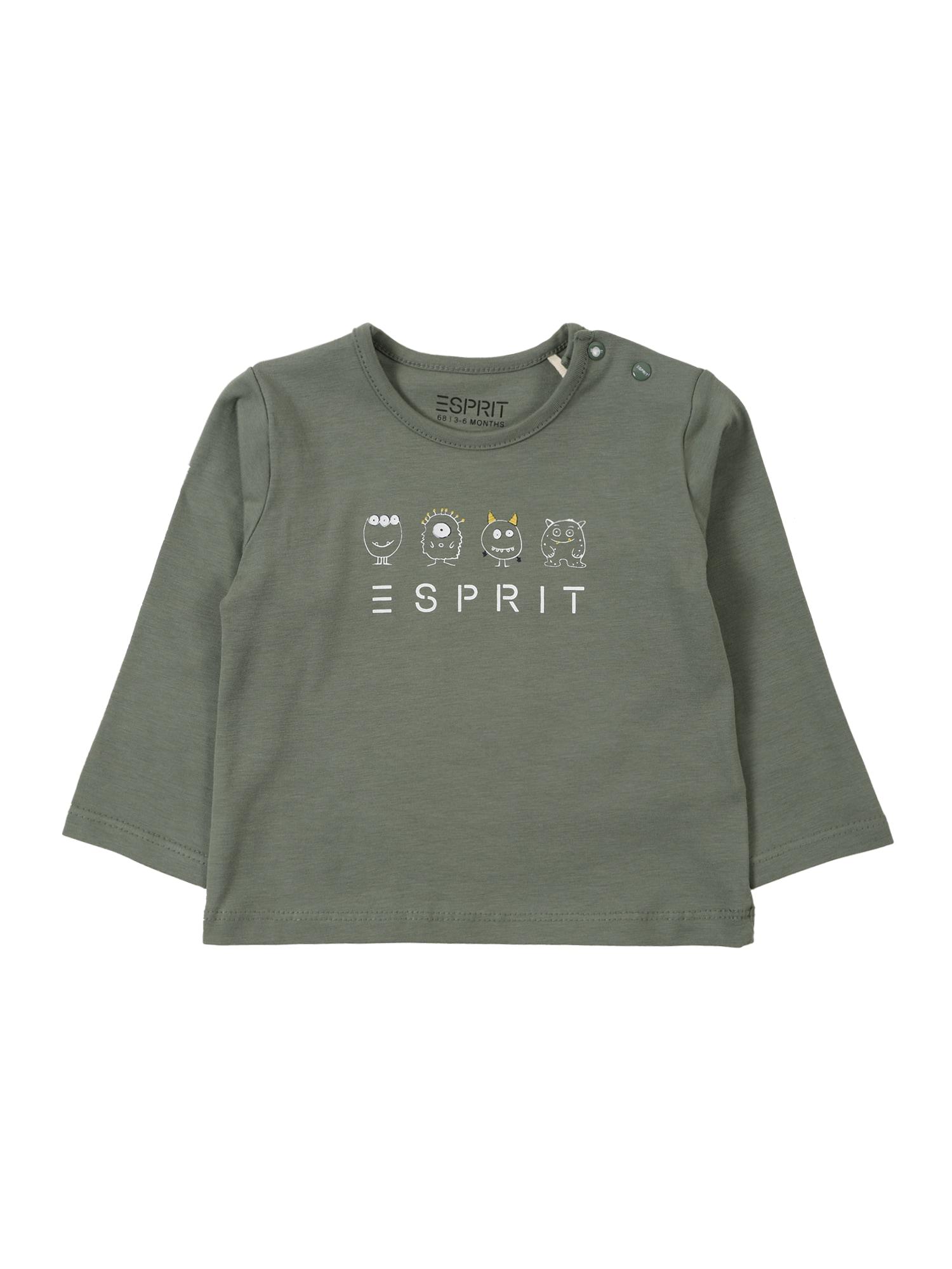 ESPRIT Tričko  olivová / bílá