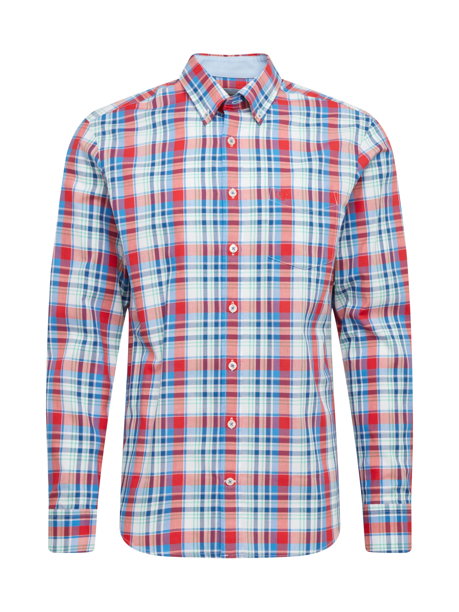 bugatti Marškiniai šviesiai raudona / turkio spalva / balta / pastelinė žalia / purpurinė