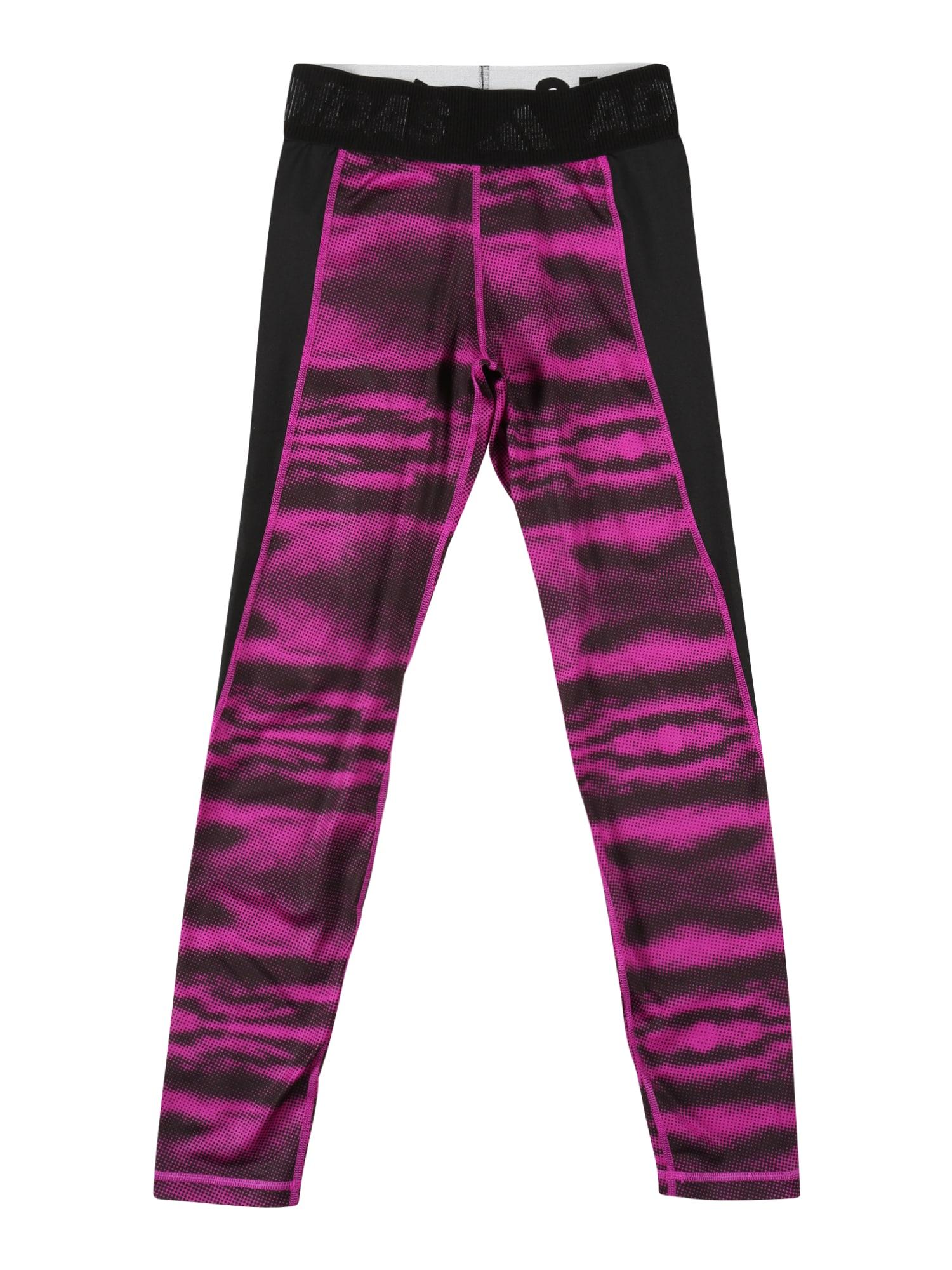 ADIDAS PERFORMANCE Sportovní kalhoty 'Techfit''  černá / bílá / fuchsiová