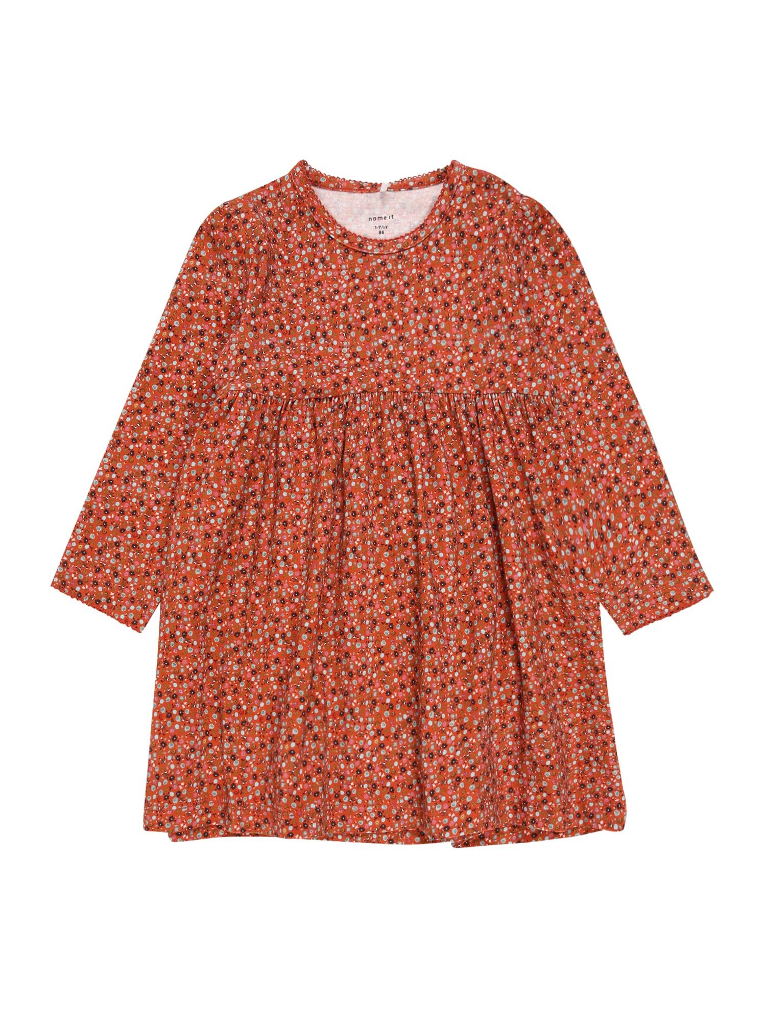 NAME IT Suknelė 'OTILIA' rūdžių raudona / granatų spalva / nefrito spalva / tamsiai mėlyna jūros spalva / balta
