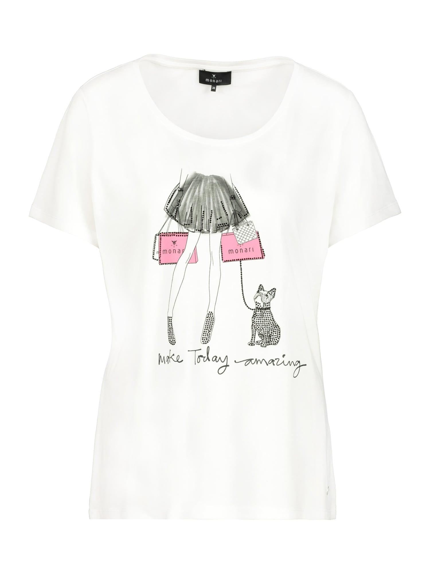 monari Marškinėliai balta / juoda / rožinė