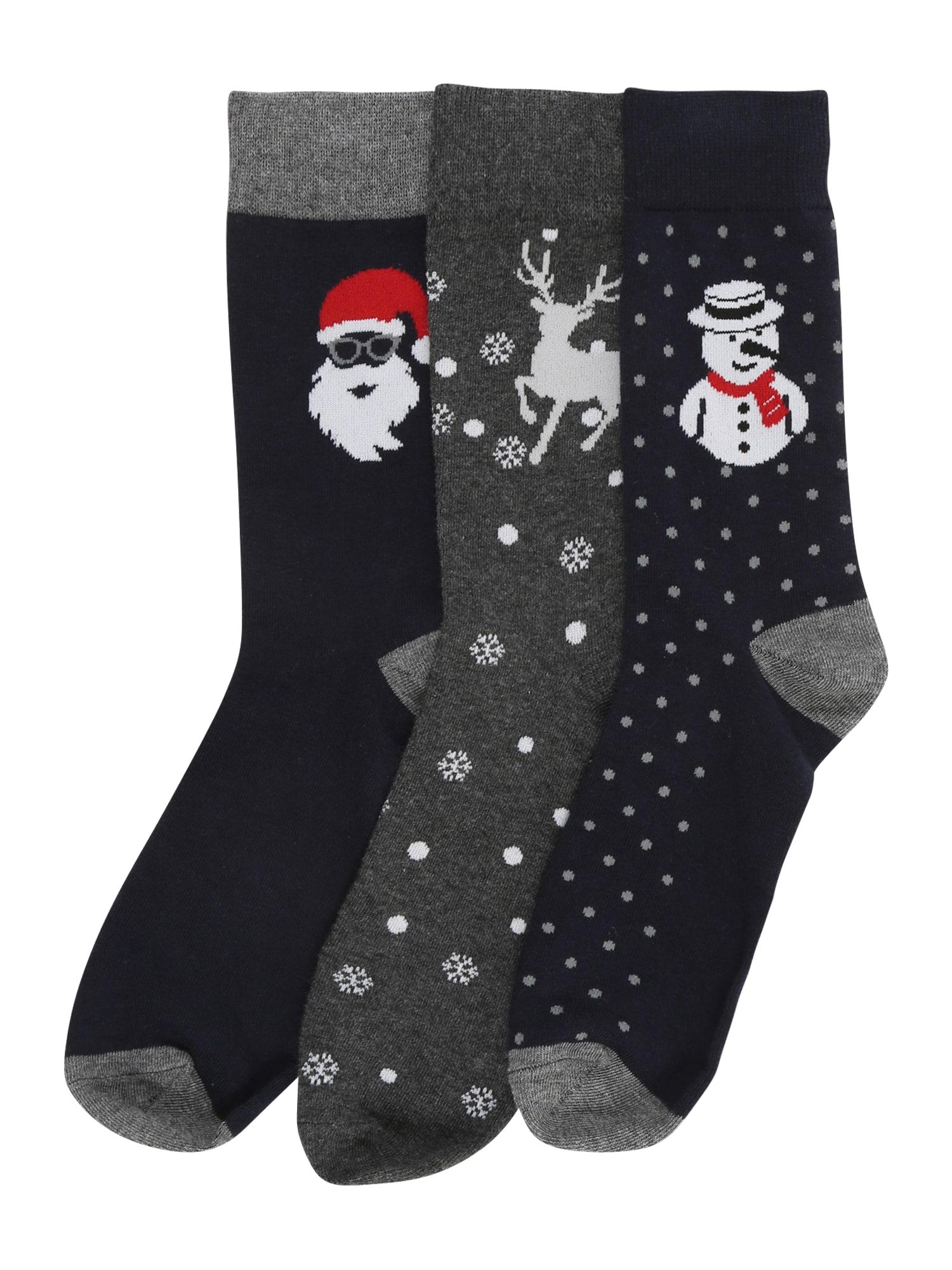 JACK & JONES Ponožky 'CLAUS'  námořnická modř / šedá / černá / bílá / červená