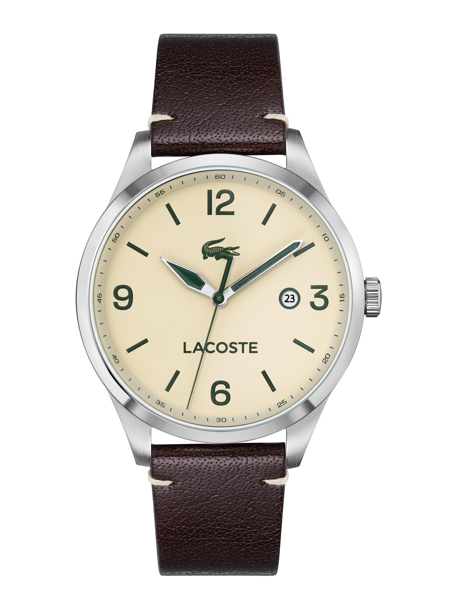 LACOSTE Analoginis (įprasto dizaino) laikrodis sidabrinė / šokolado spalva