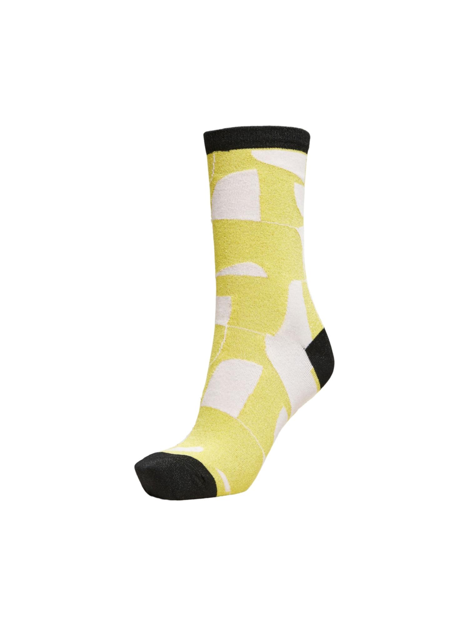 SELECTED FEMME Kojinės geltona / juoda / balta