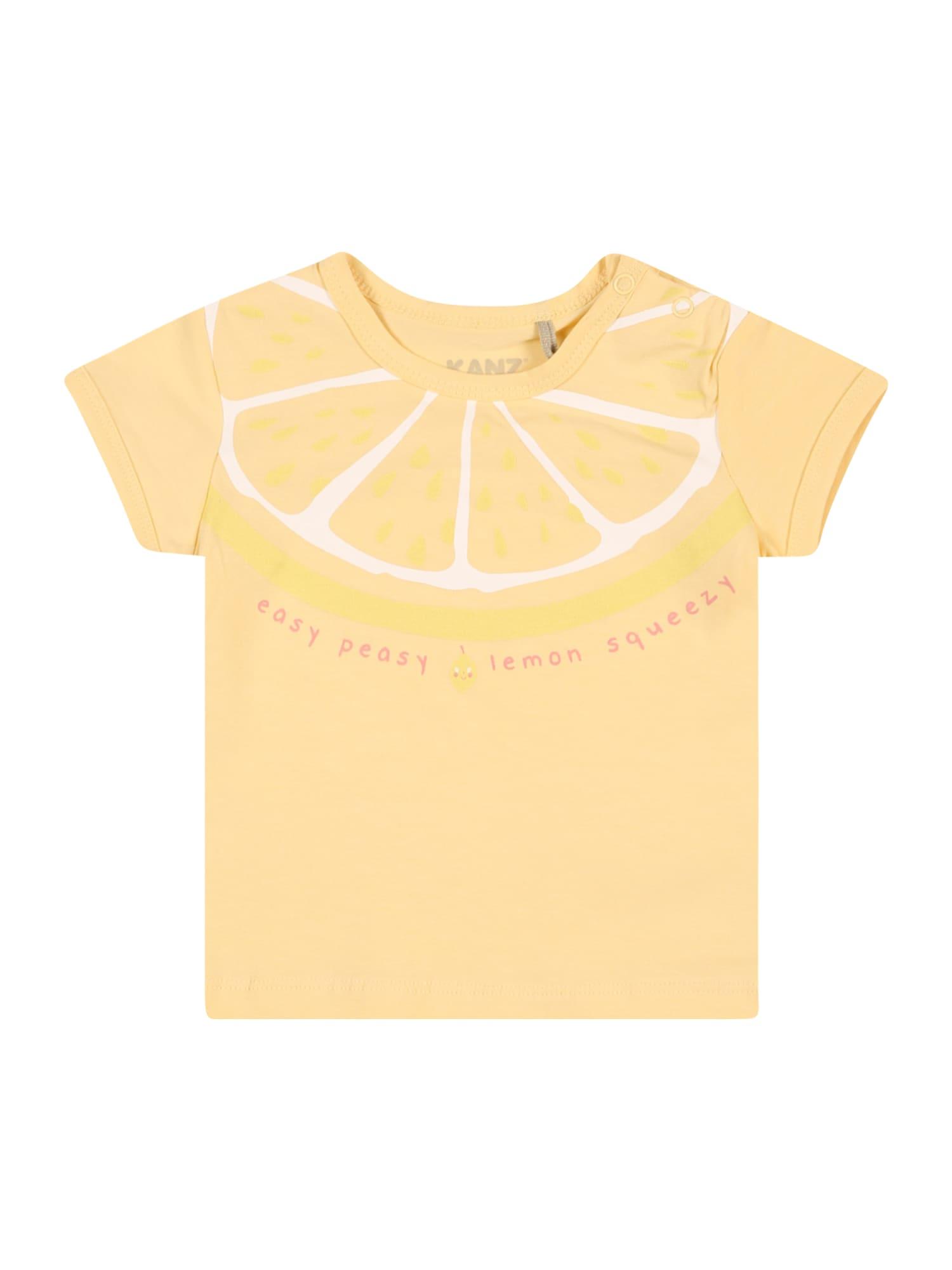 KANZ Marškinėliai geltona / žaliosios citrinos spalva / balta