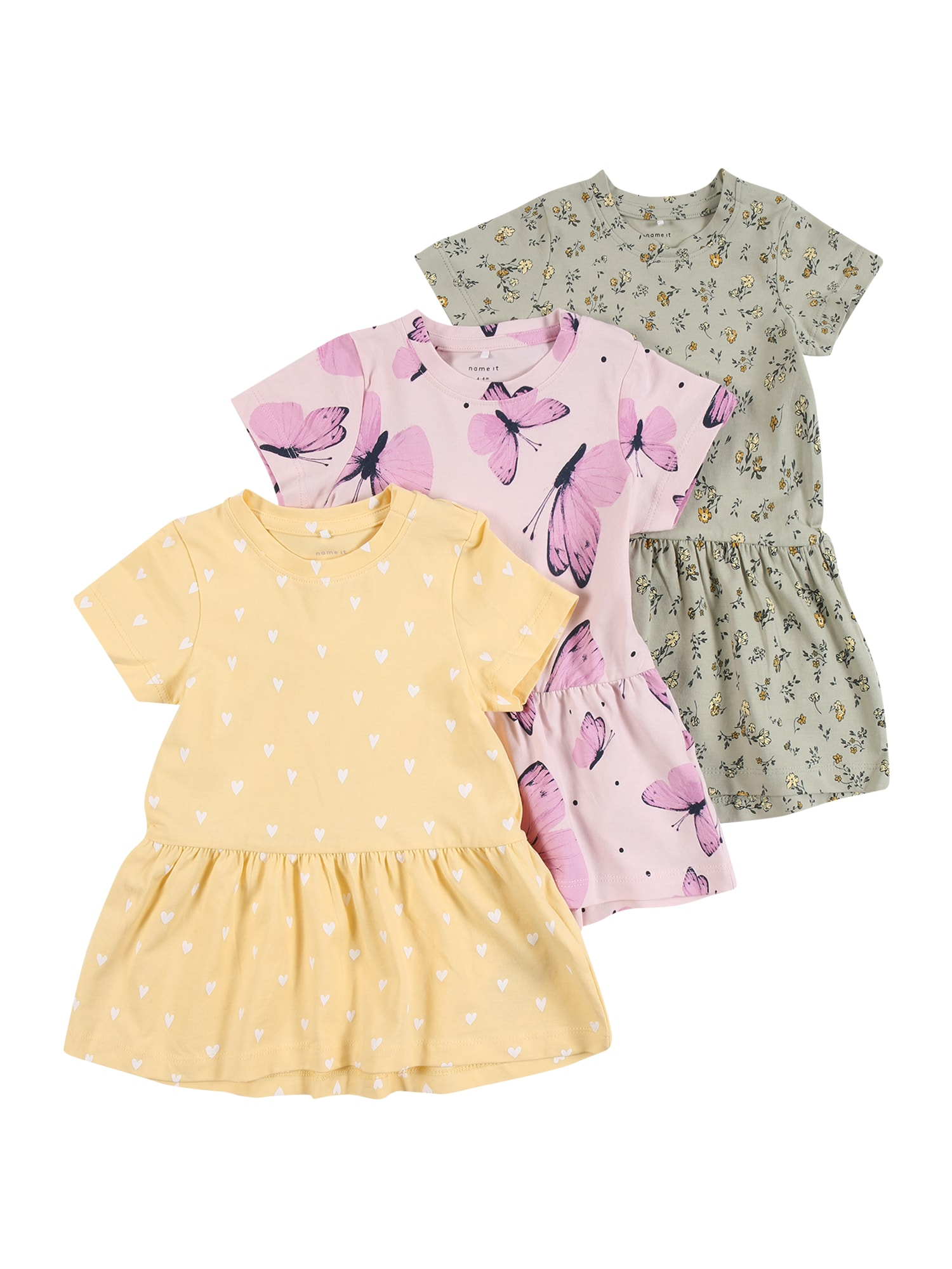 NAME IT Suknelė 'SONYA' pastelinė žalia / purpurinė / geltona / mišrios spalvos