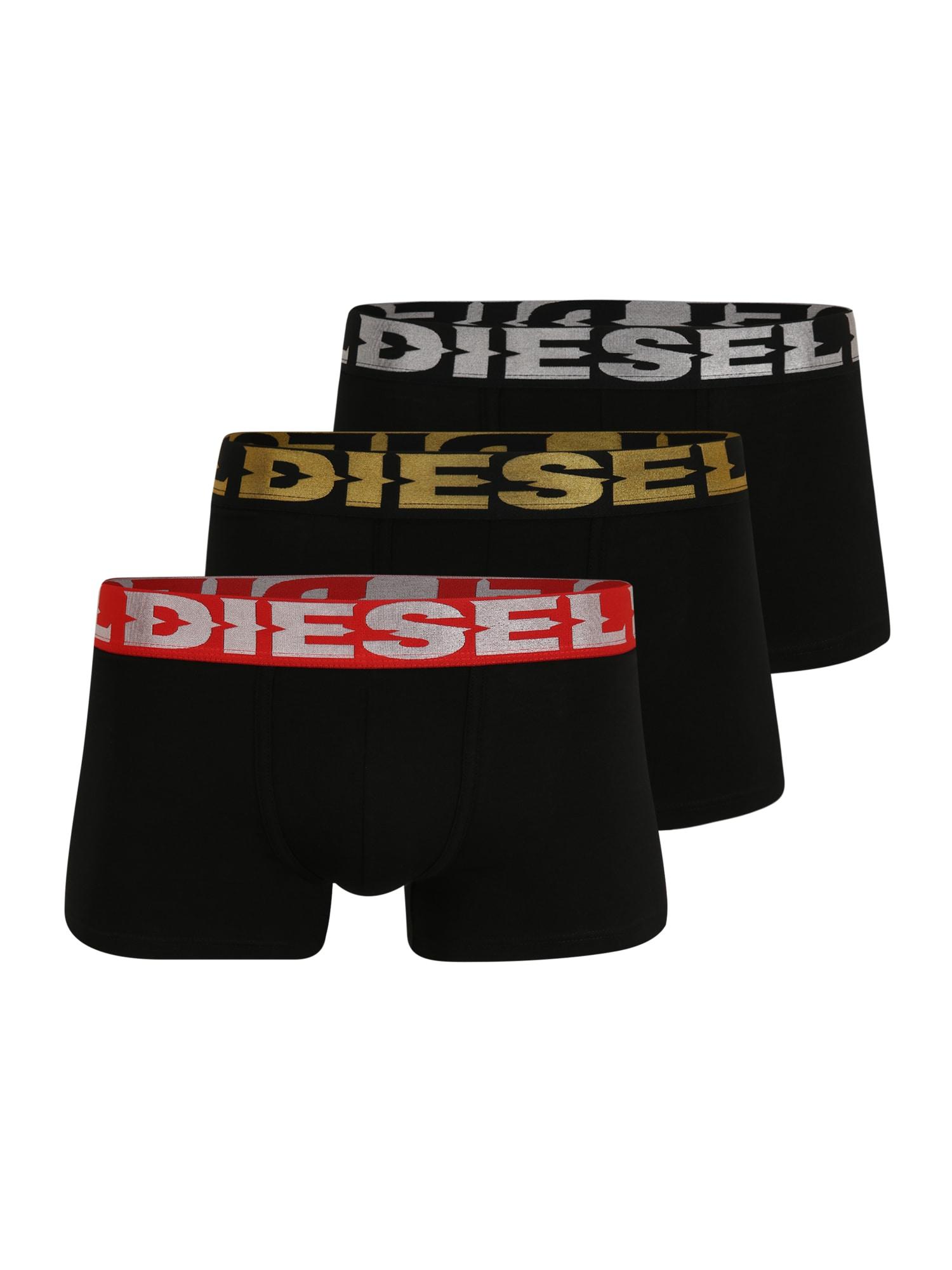 DIESEL Boxer trumpikės juoda / raudona / sidabro pilka / aukso geltonumo spalva