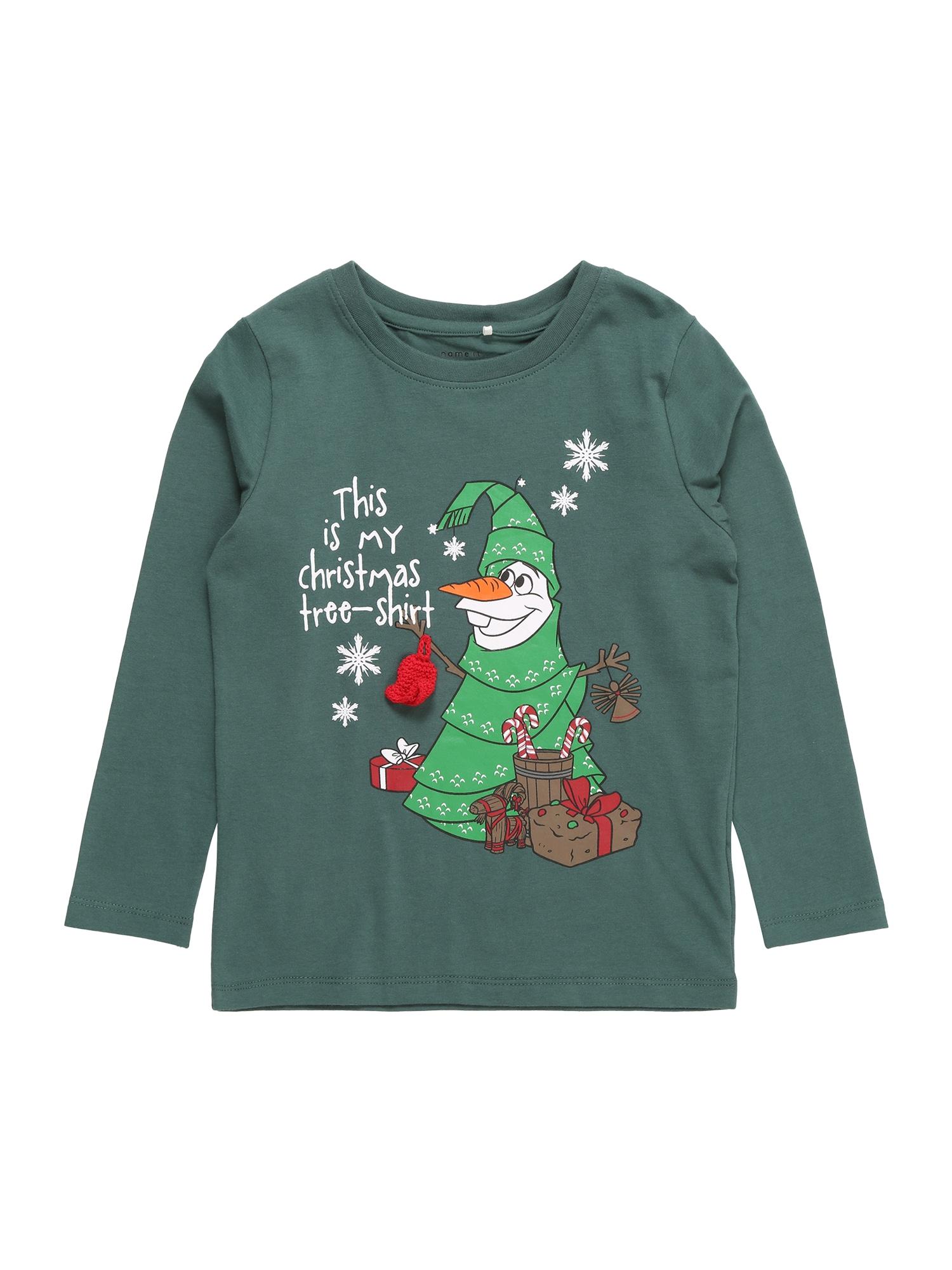 NAME IT Tričko 'OLAF BERT'  tmavě zelená / zelená / bílá / oranžová / červená