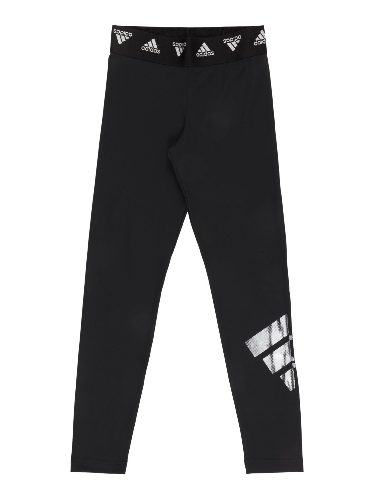 ADIDAS PERFORMANCE Sportovní kalhoty  černá / bílá / světle šedá