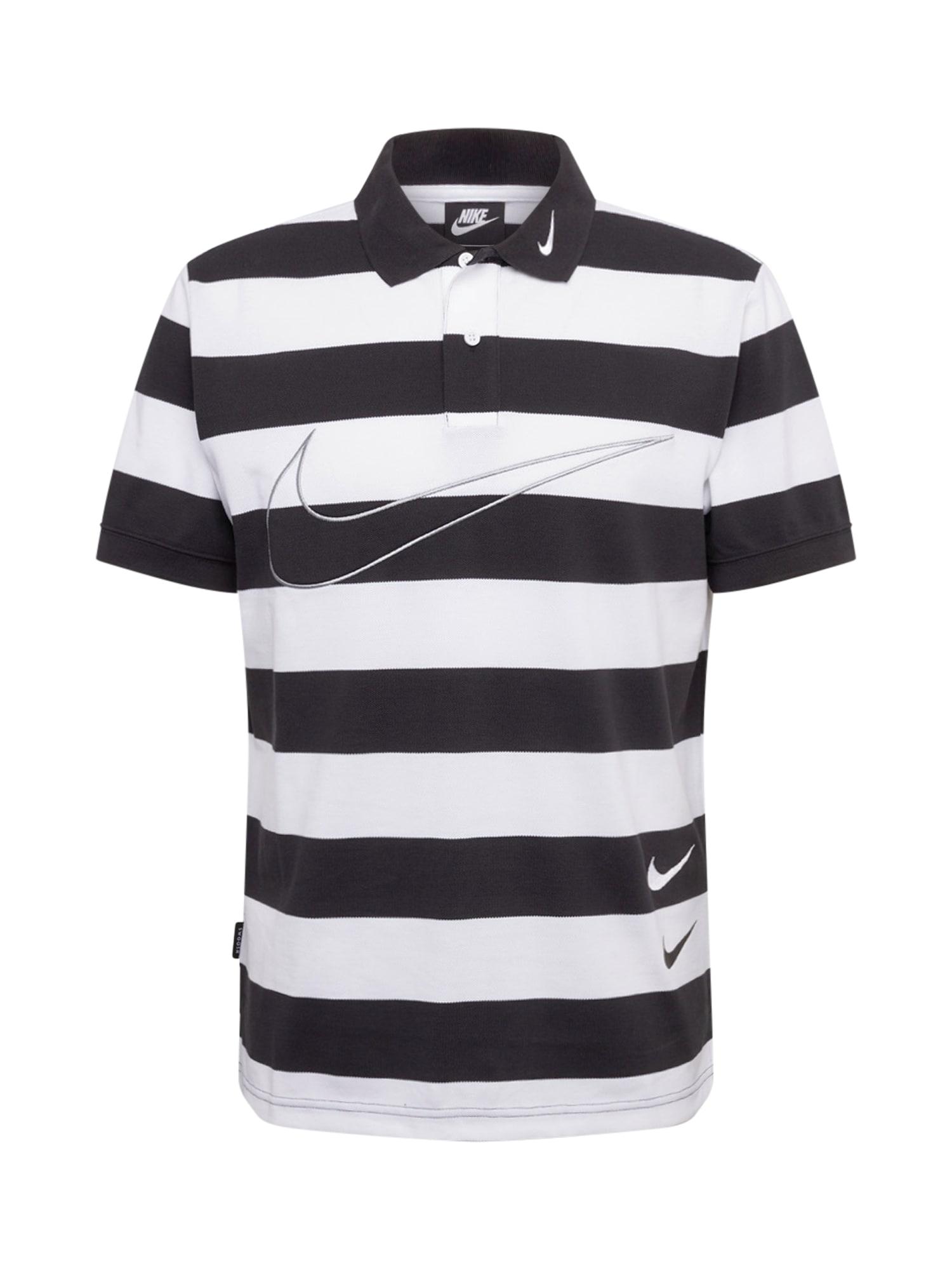 Nike Sportswear Tričko  bílá / černý melír / šedá