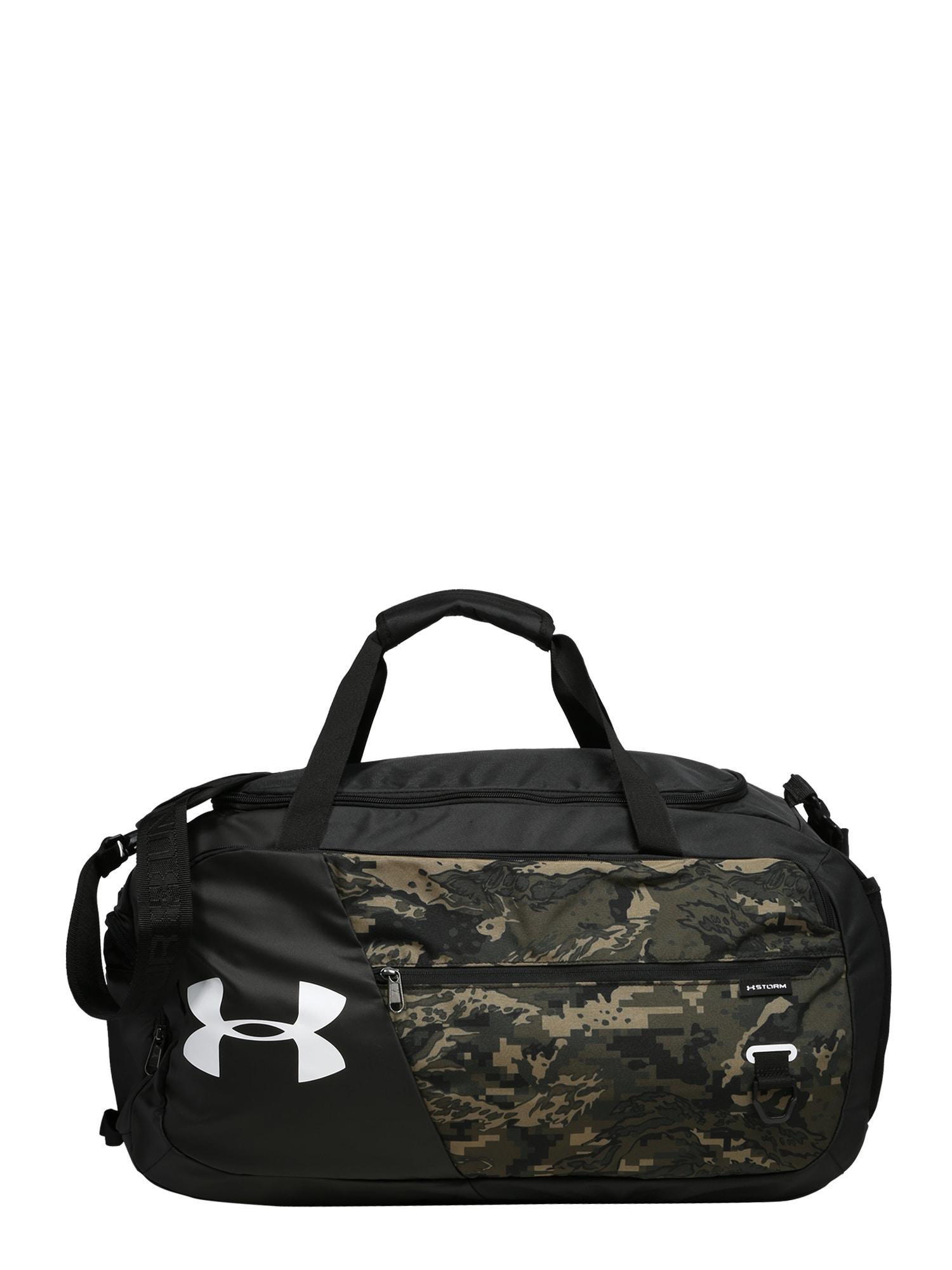 UNDER ARMOUR Sportinis krepšys juoda / rusvai žalia / šviesiai ruda
