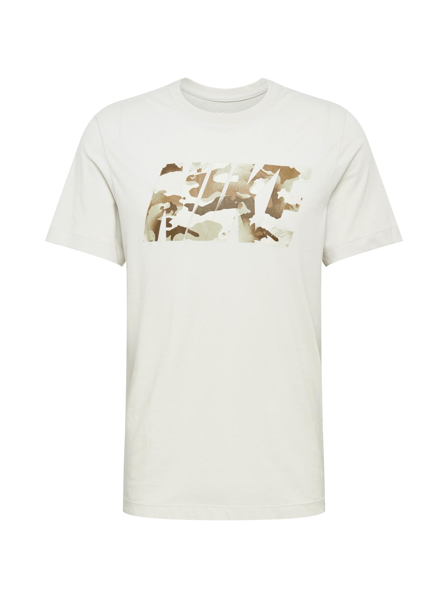 NIKE Funkční tričko  bílá / béžová / hnědá
