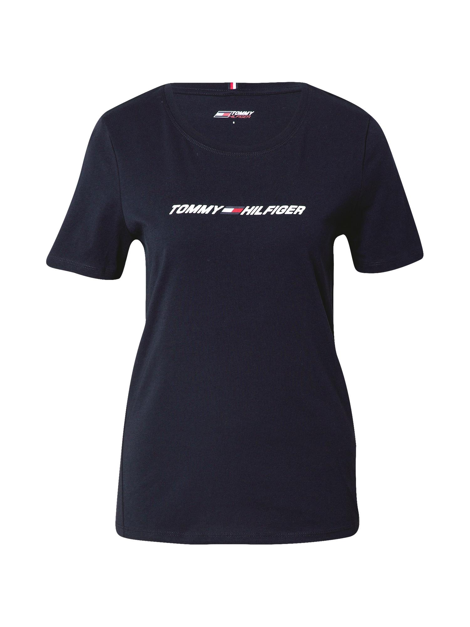 Tommy Sport Funkční tričko  tmavě modrá / bílá / brusinková