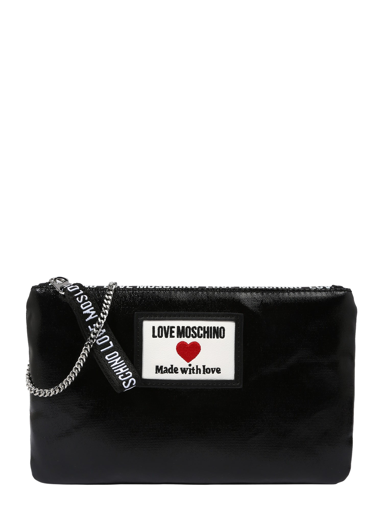 Love Moschino Rankinė su ilgu dirželiu juoda / balta / šviesiai raudona