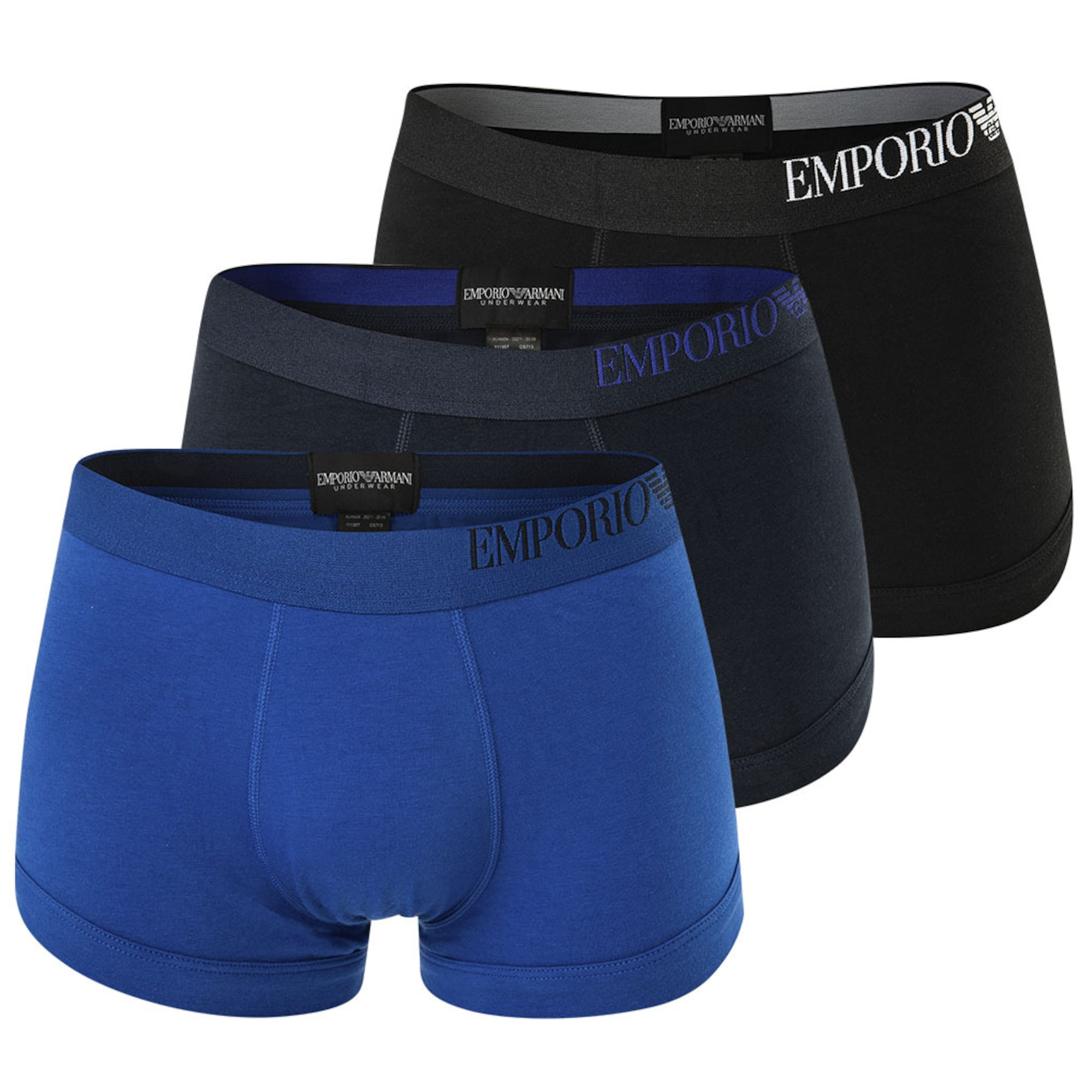 Emporio Armani Boxer trumpikės juoda / tamsiai mėlyna jūros spalva / tamsiai mėlyna / balta