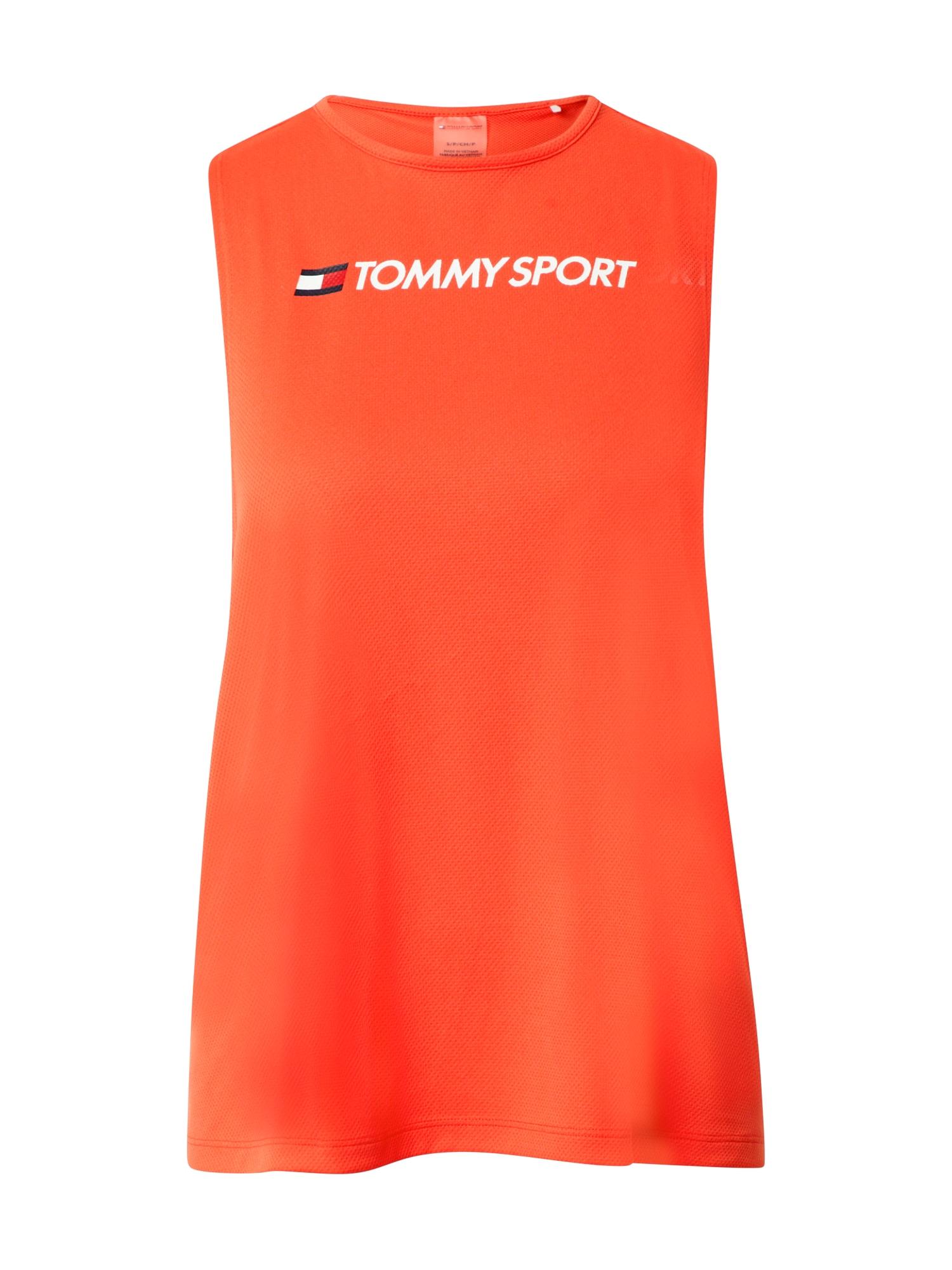 Tommy Sport Sportiniai marškinėliai be rankovių balta / raudona / tamsiai mėlyna / oranžinė-raudona