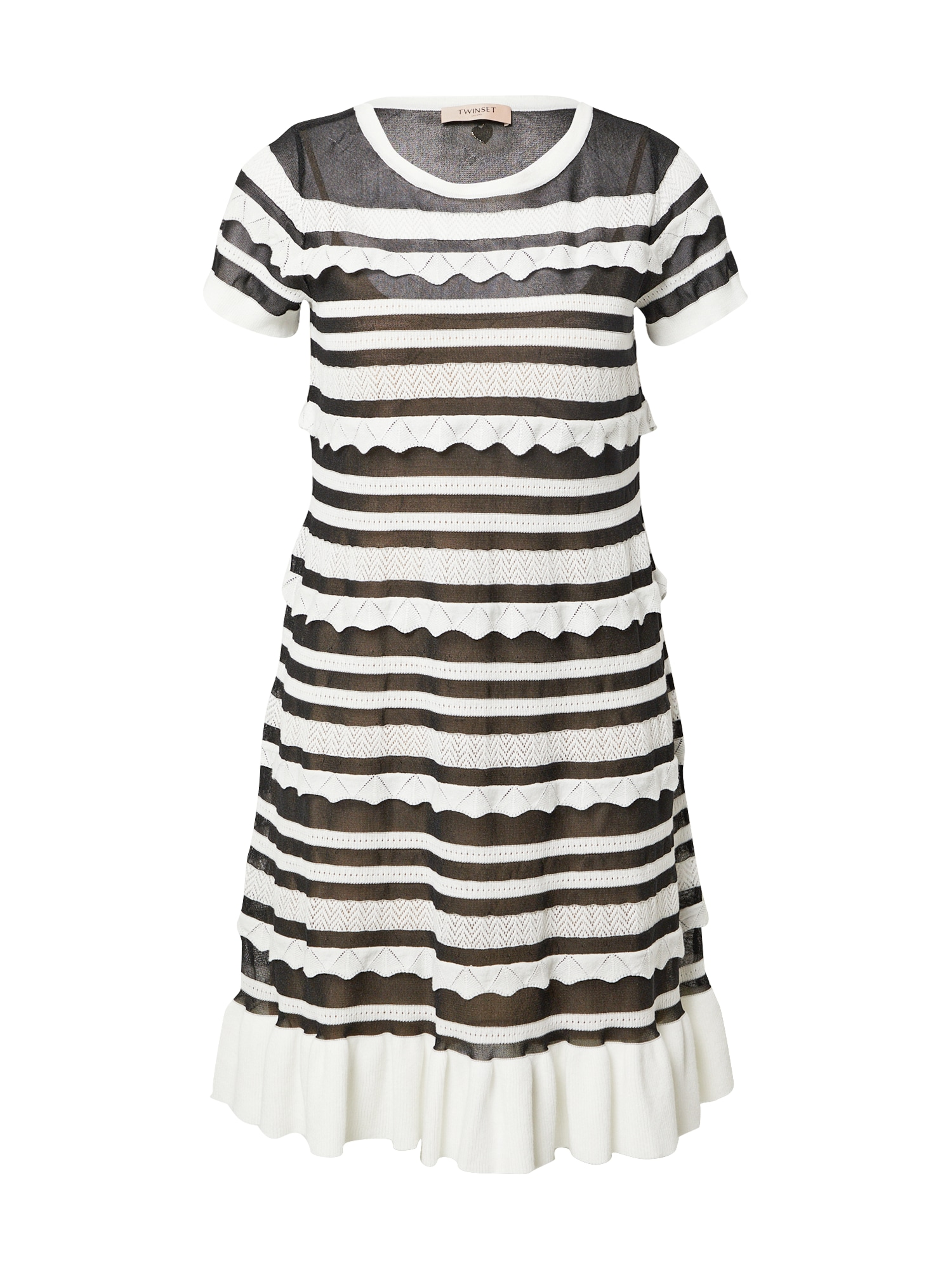 Twinset Megzta suknelė juoda / balta