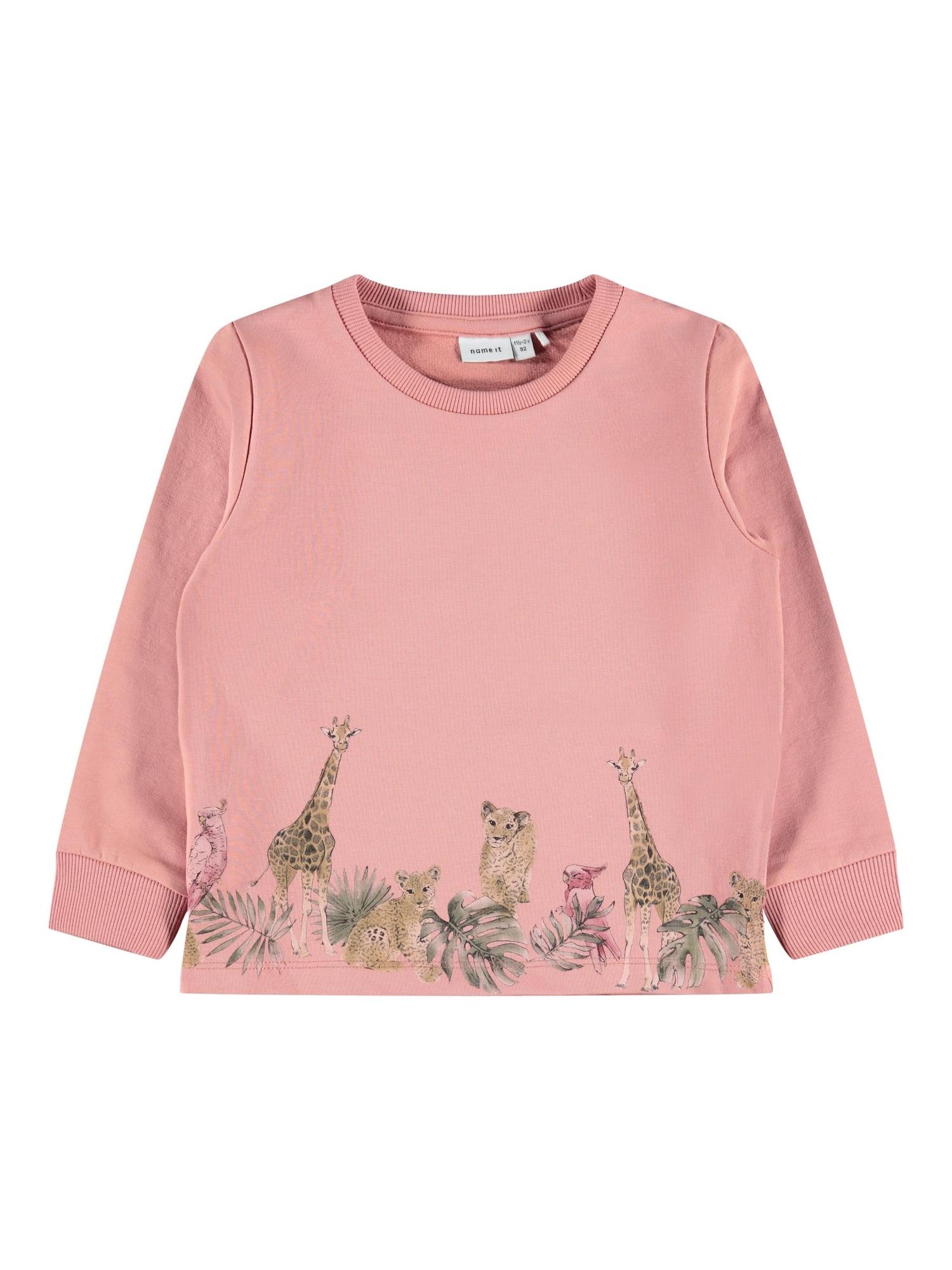 NAME IT Megztinis be užsegimo 'Jungle' ryškiai rožinė spalva / šviesiai ruda / smaragdinė spalva / juoda / pitajų spalva