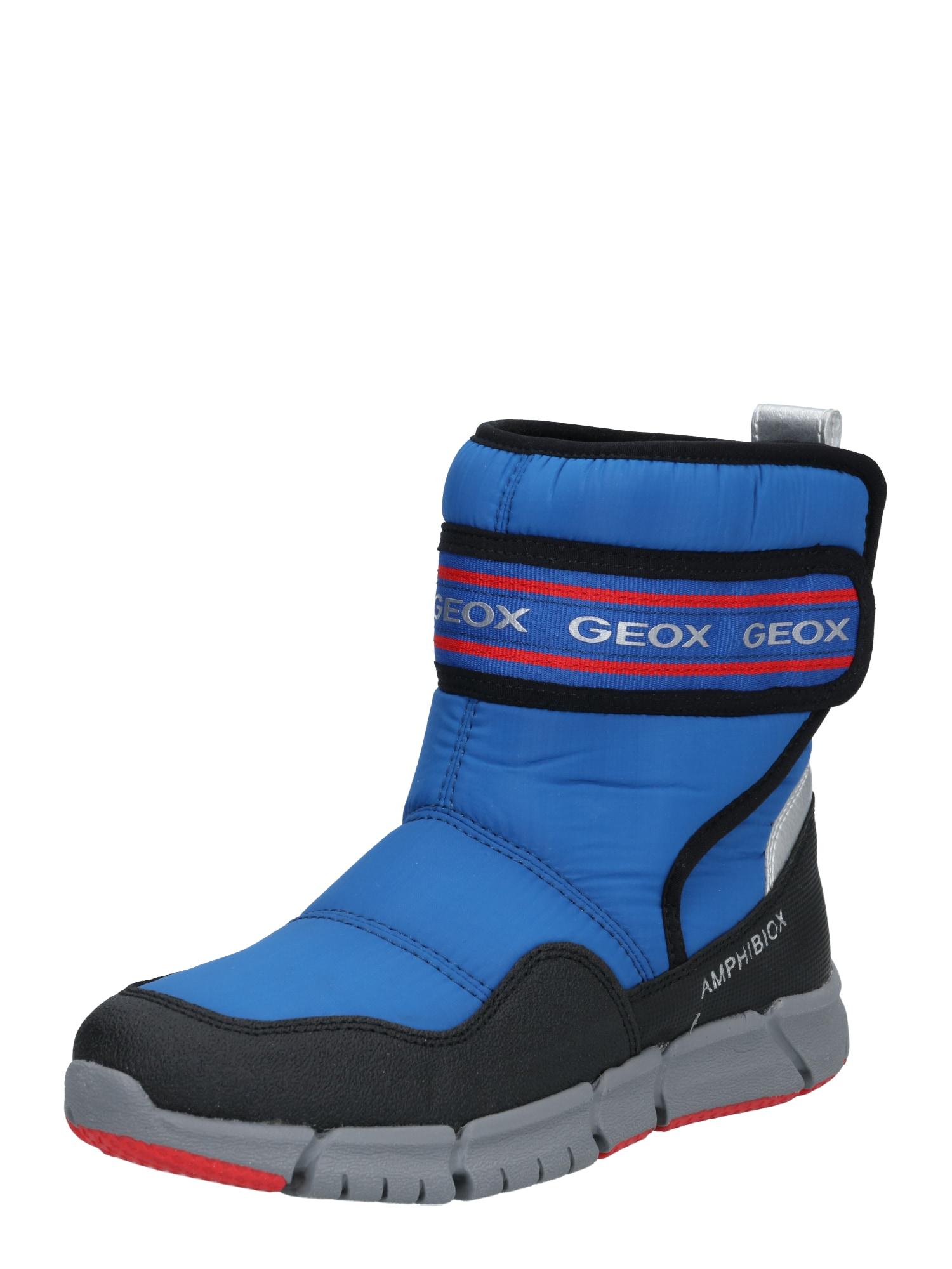 GEOX Sniego batai mėlyna / juoda / raudona / sidabras