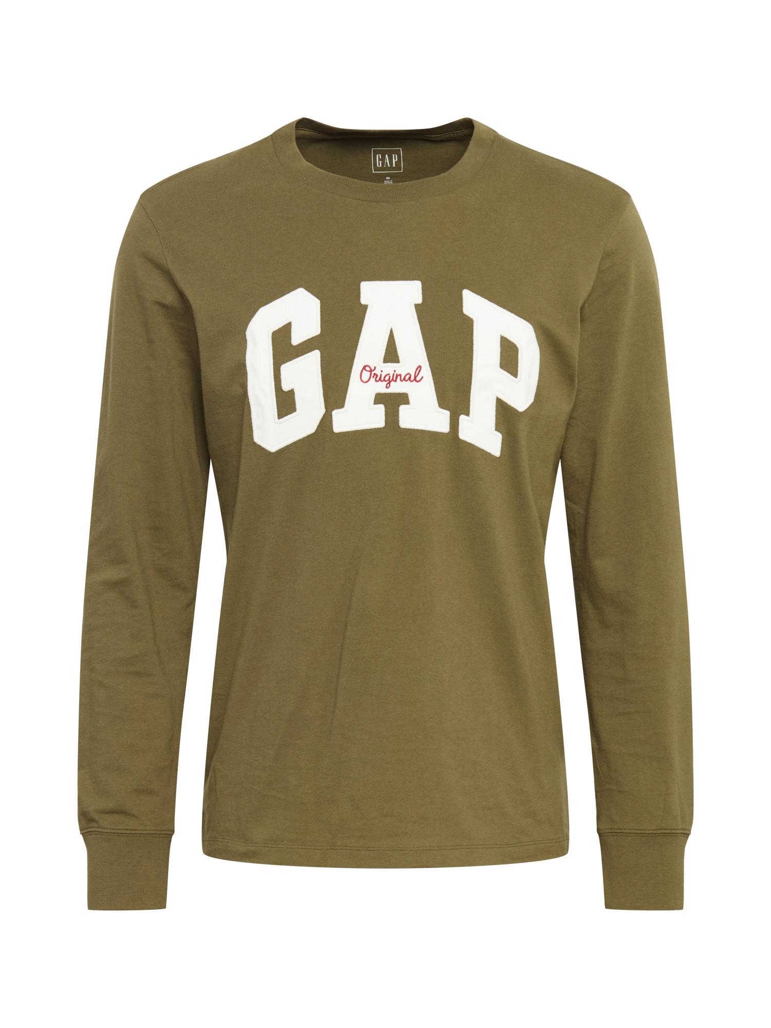 GAP Tričko  khaki / bílá