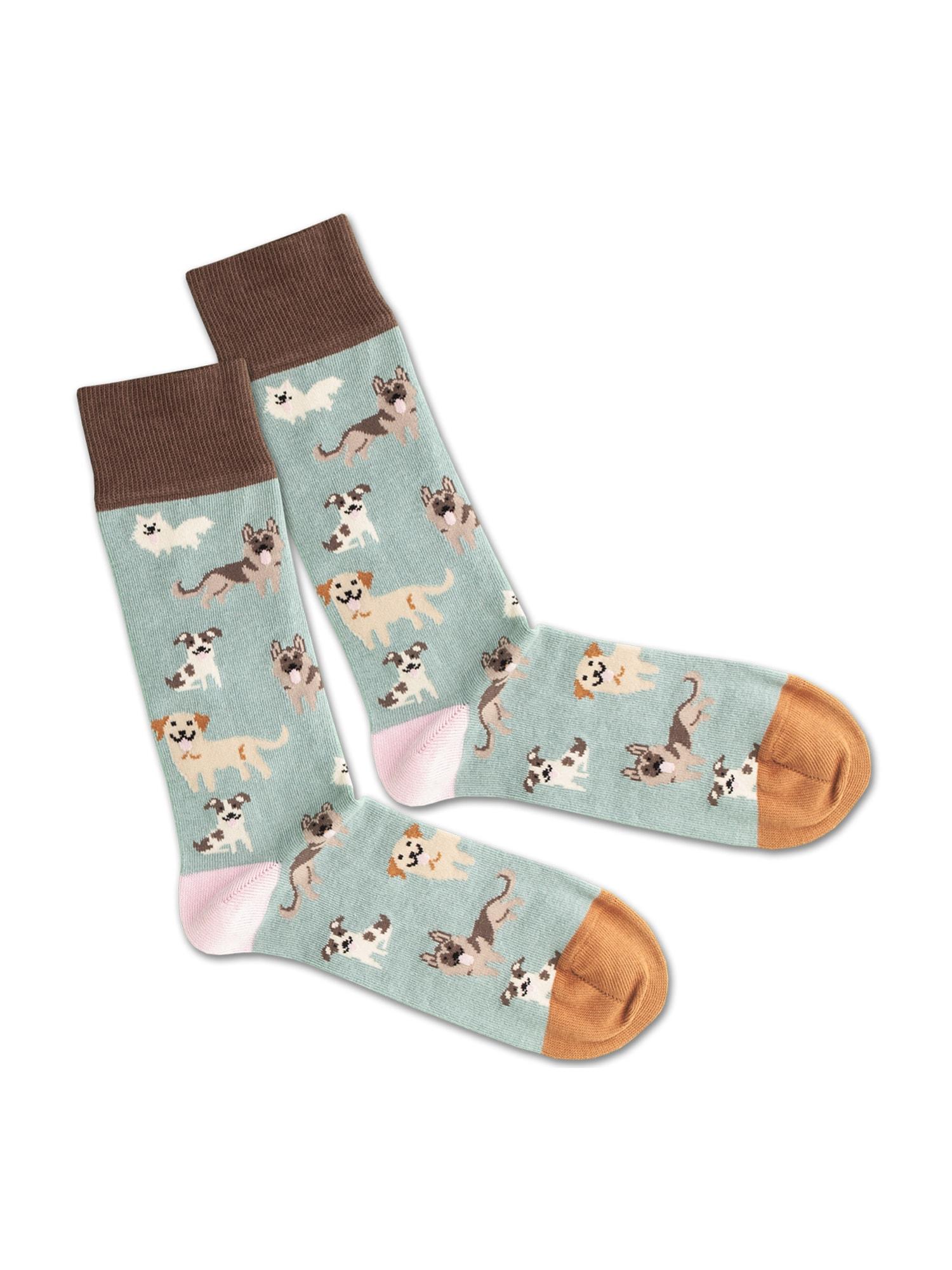 DillySocks Ponožky 'SS20-47 Doggy Dog'  bílá / zelená / hnědá