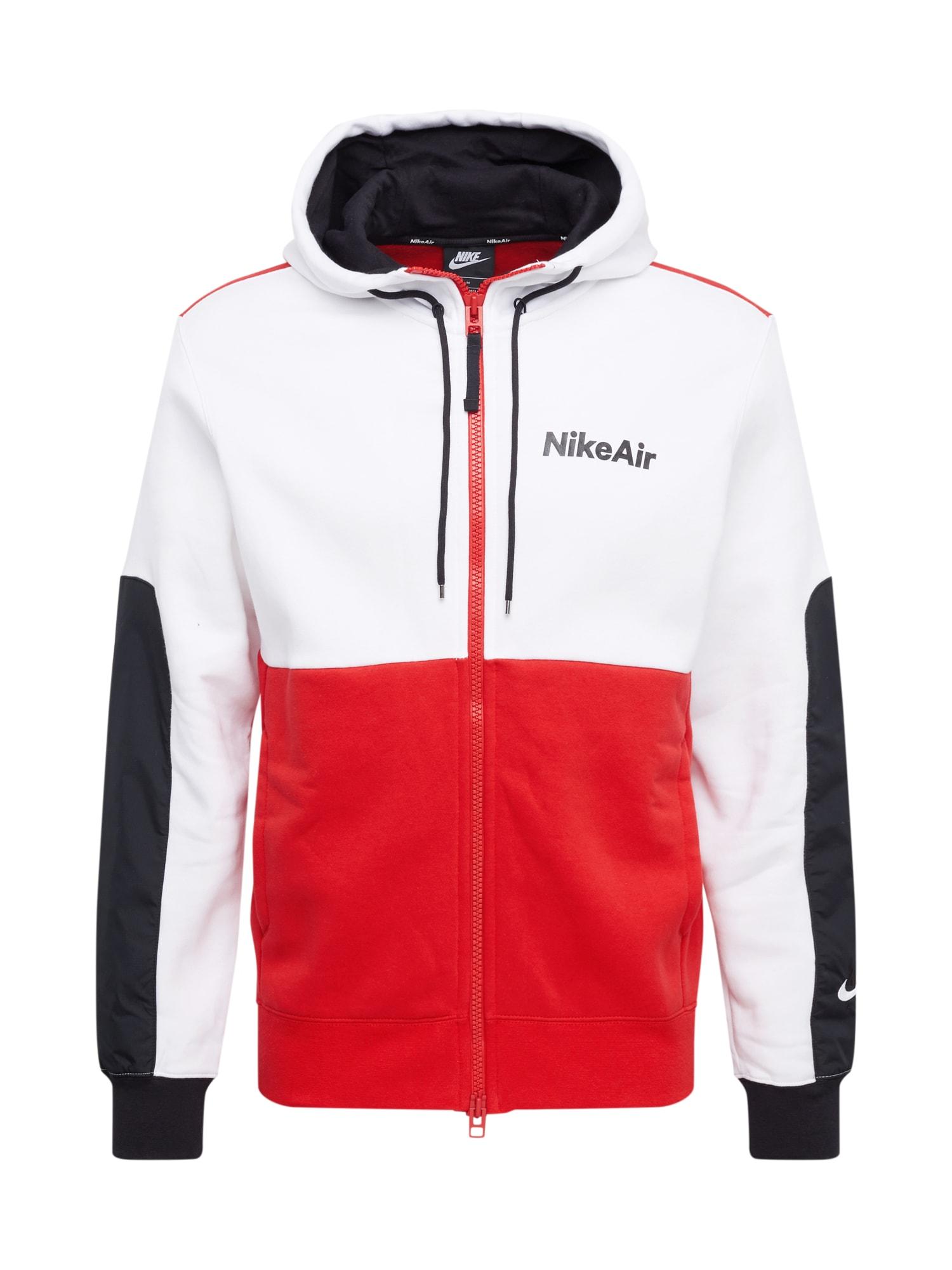 Nike Sportswear Sportovní mikina s kapucí  červená / bílá / černá