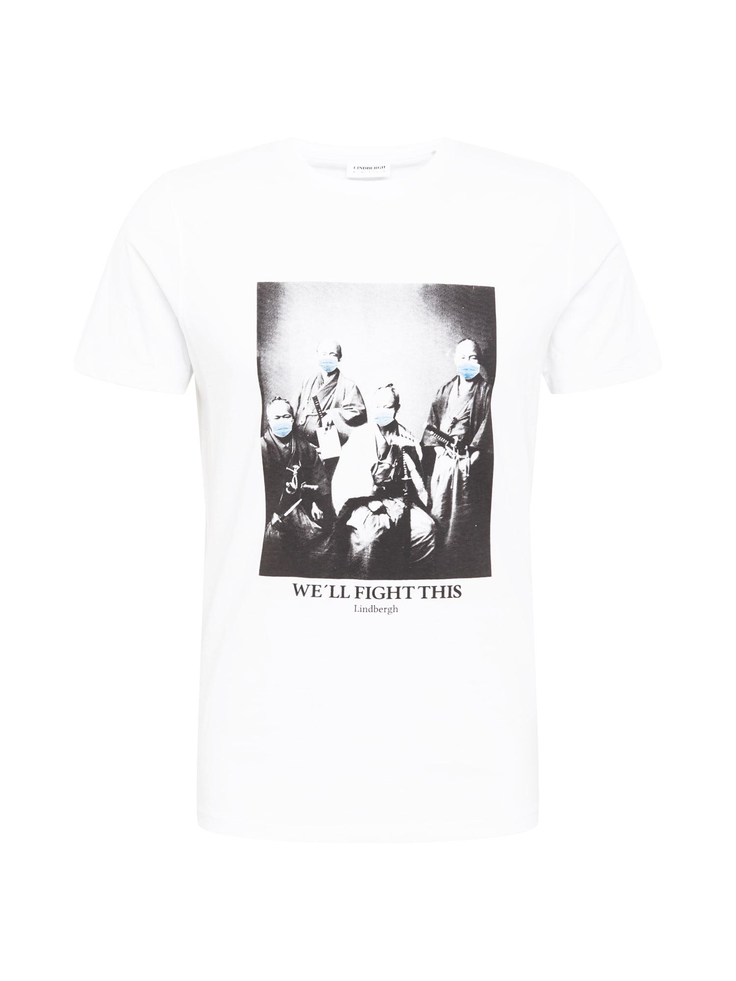 Lindbergh Marškinėliai balta / juoda / šviesiai mėlyna