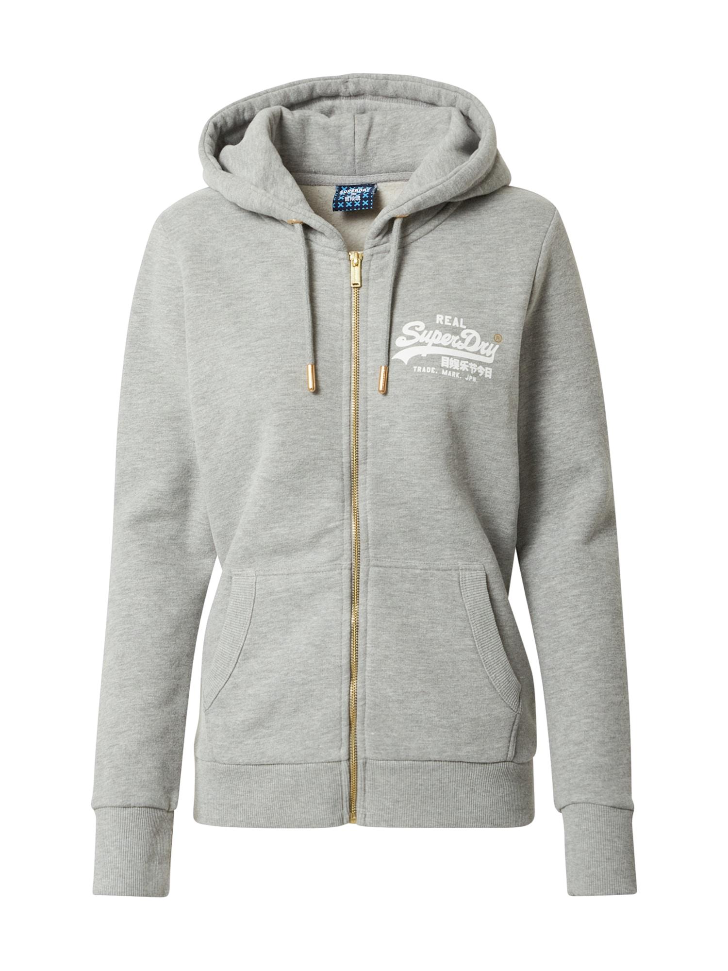 Superdry Džemperis balta / juoda / auksas / margai pilka