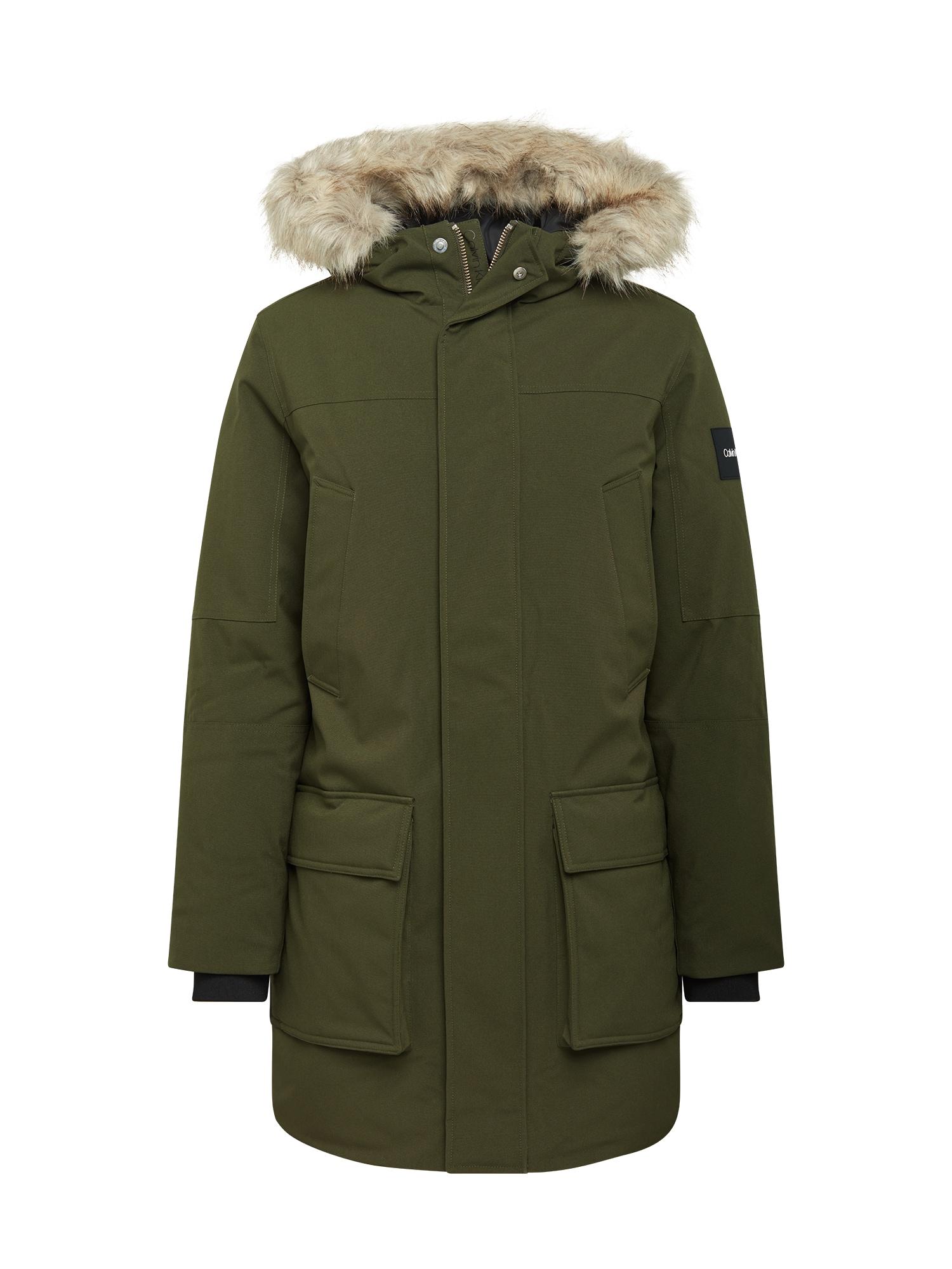 Calvin Klein Zimní parka  khaki / šedá