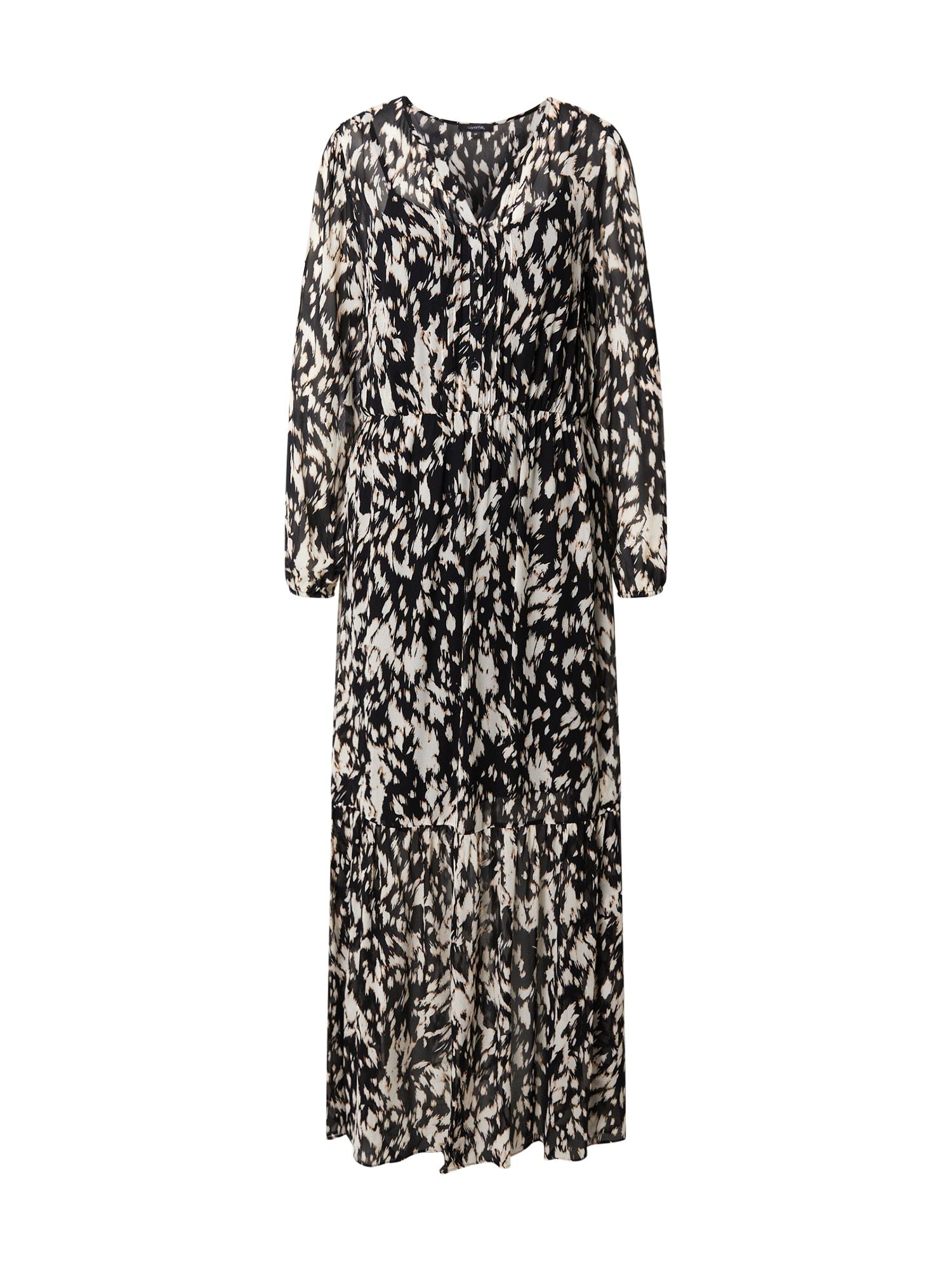COMMA Košilové šaty  černá / bílá