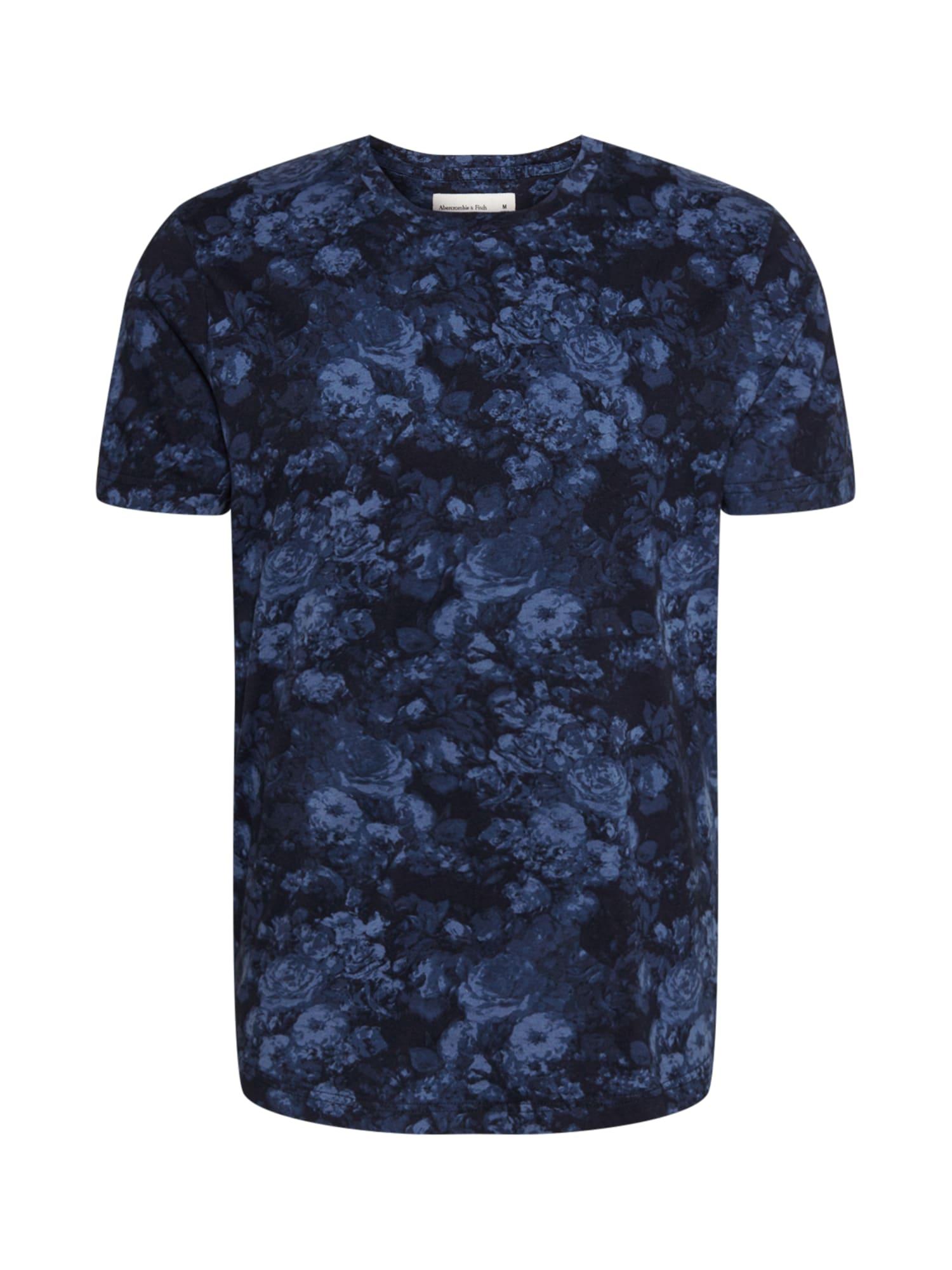 Abercrombie & Fitch Marškinėliai tamsiai mėlyna / mėlyna dūmų spalva