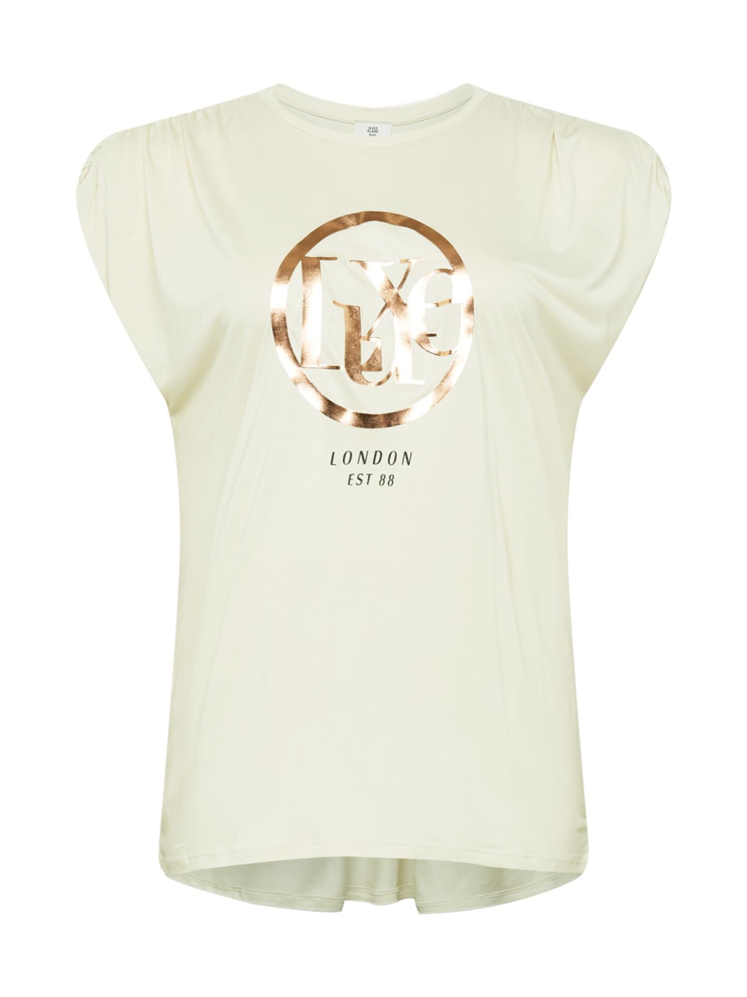 River Island Plus Marškinėliai kremo / auksas / juoda